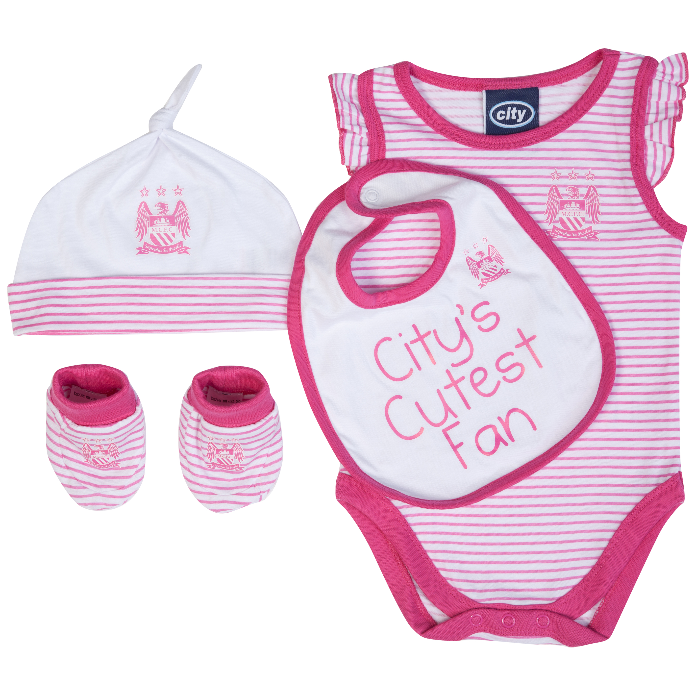 Manchester City 4 piece Gift Set - Pink/White - Baby