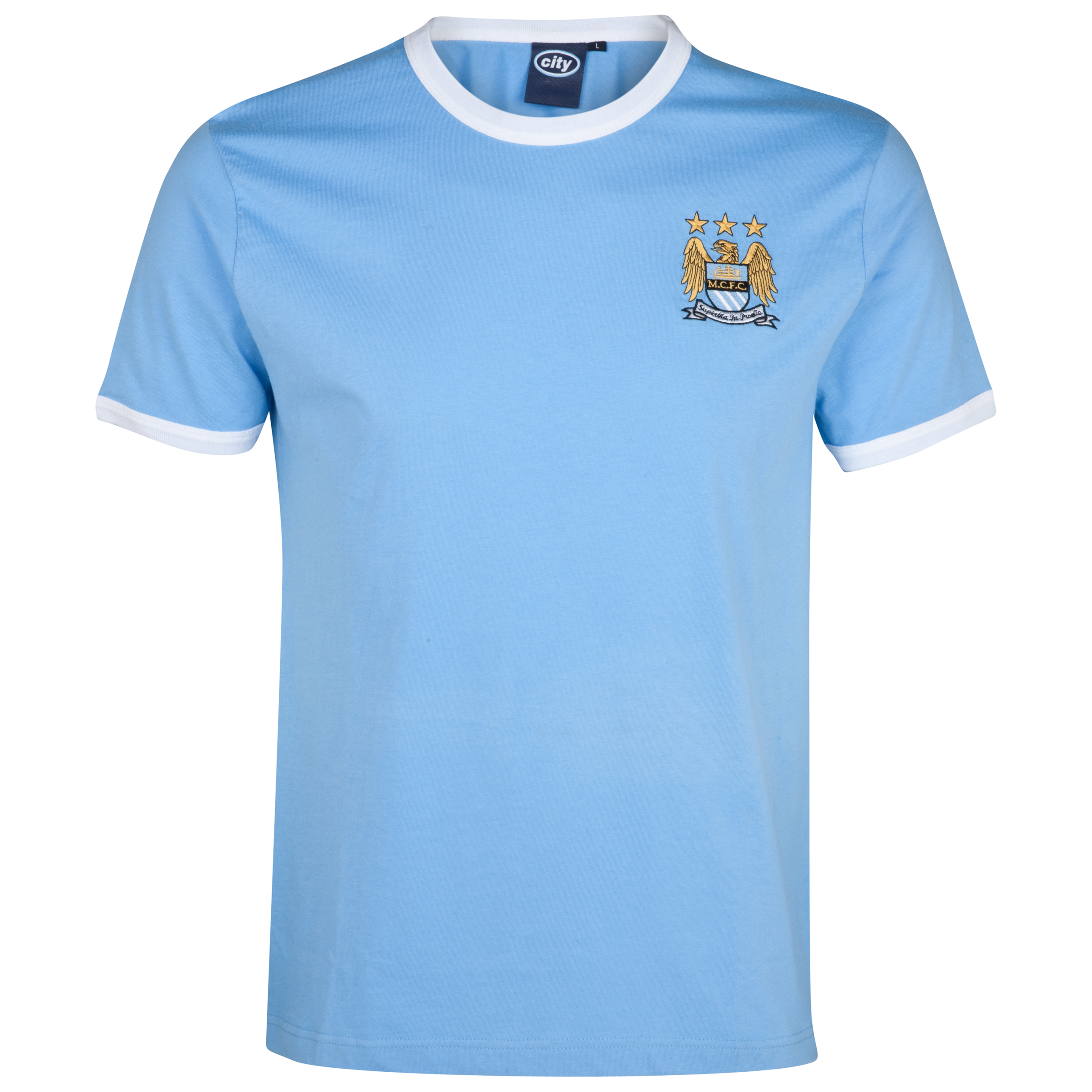 Manchester City Essential Border T-Shirt - Sky
