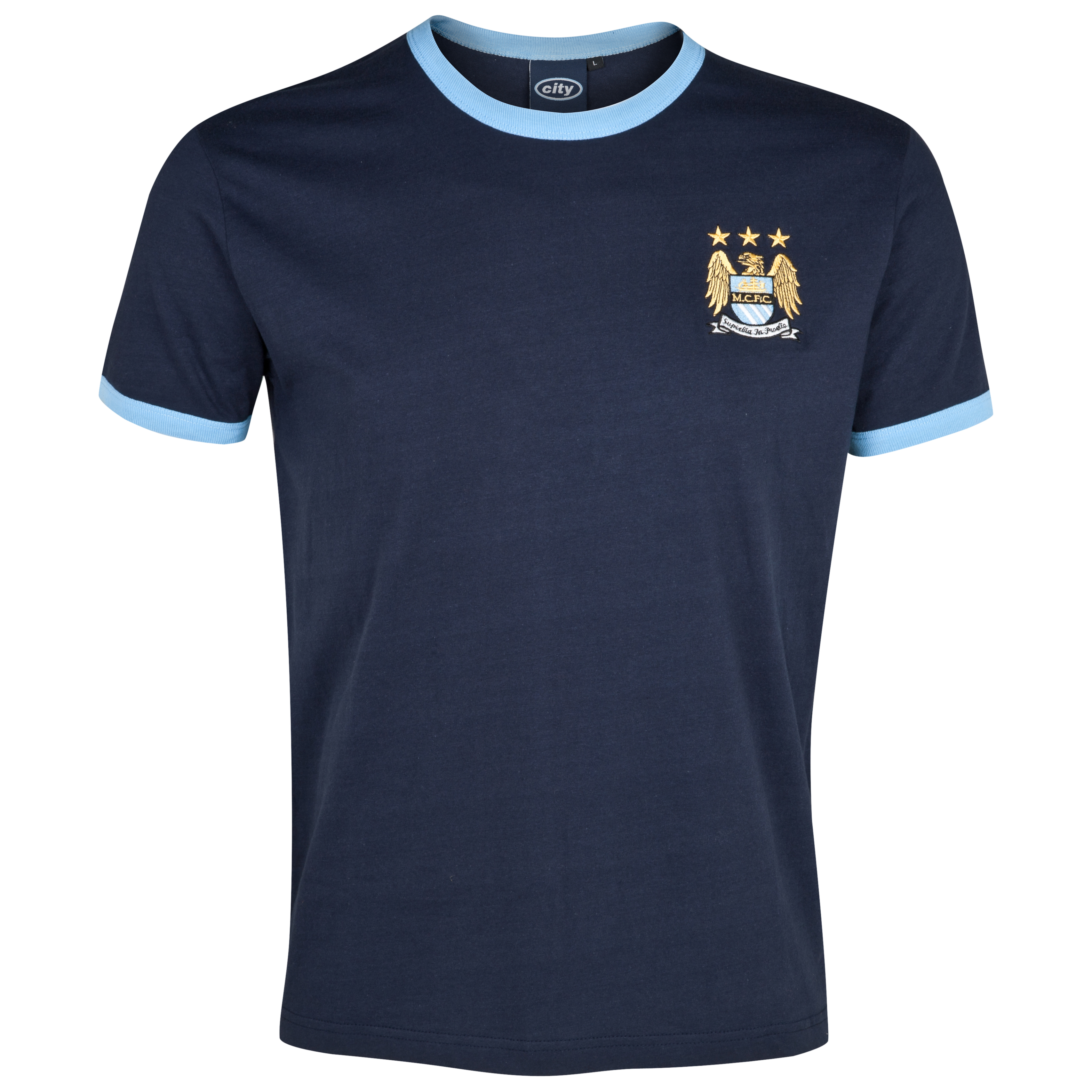 Manchester City Essential Border T-Shirt - Navy