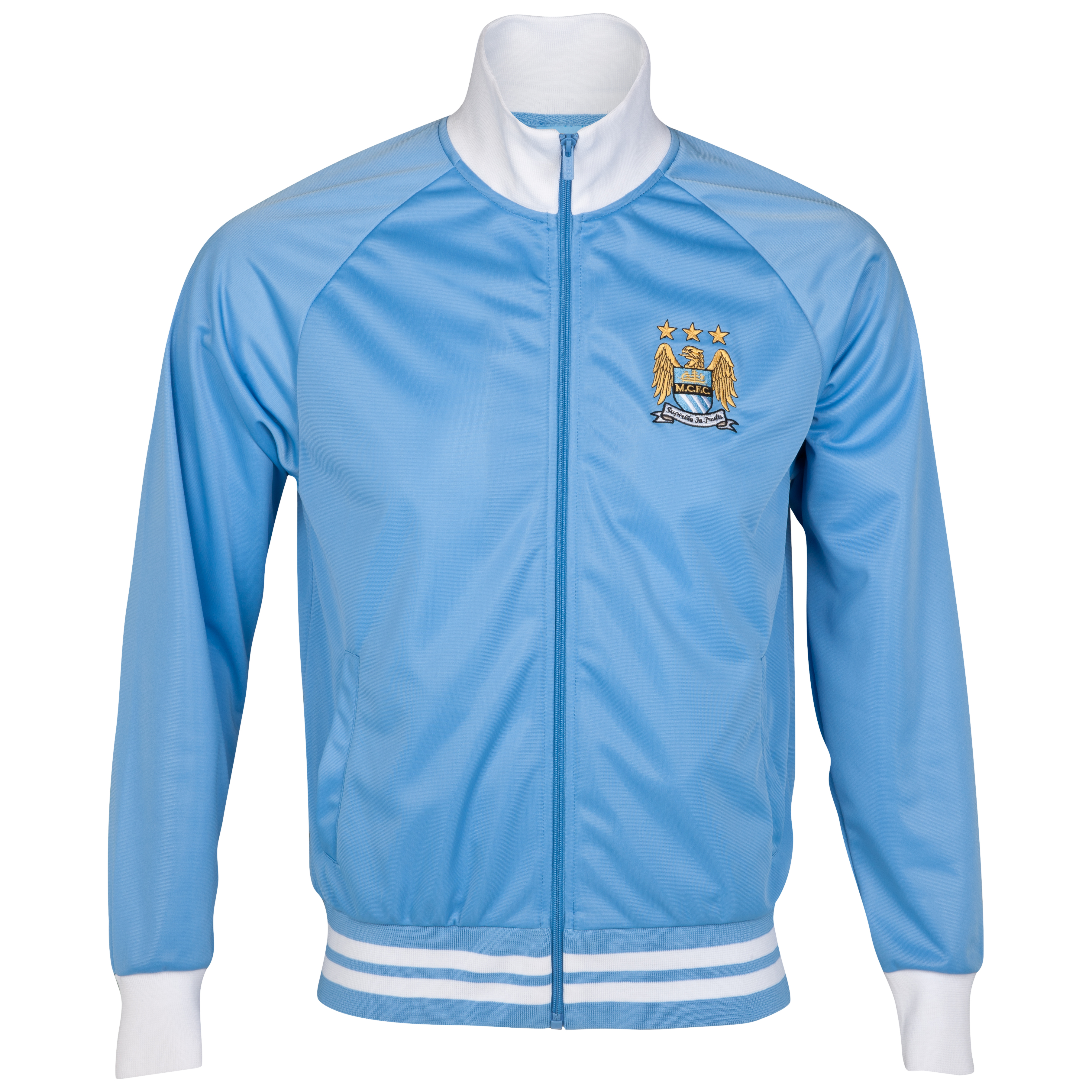 Manchester City Essential Park Track Top - White/Sky