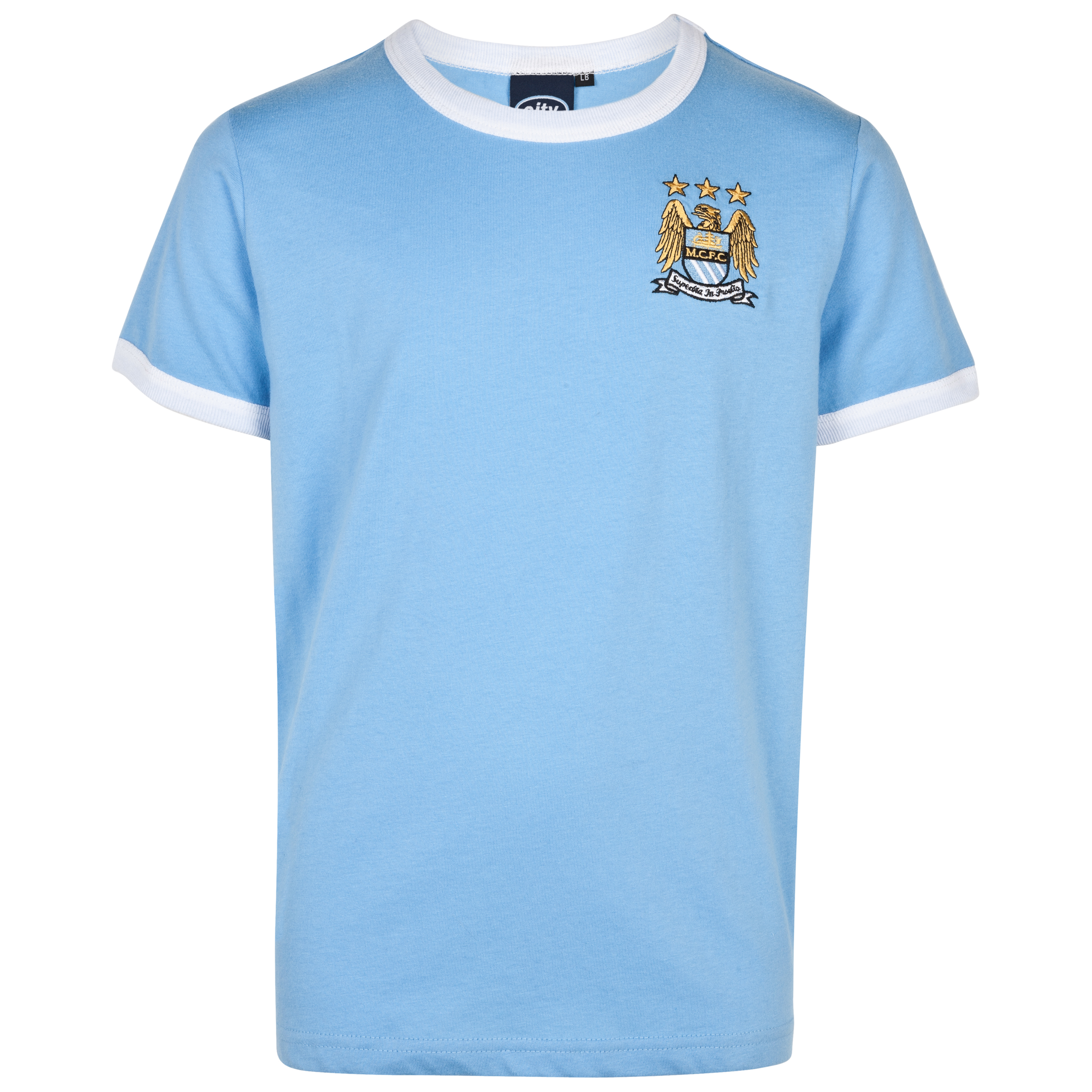 Manchester City Essential Border T-Shirt - Sky - Older Boys