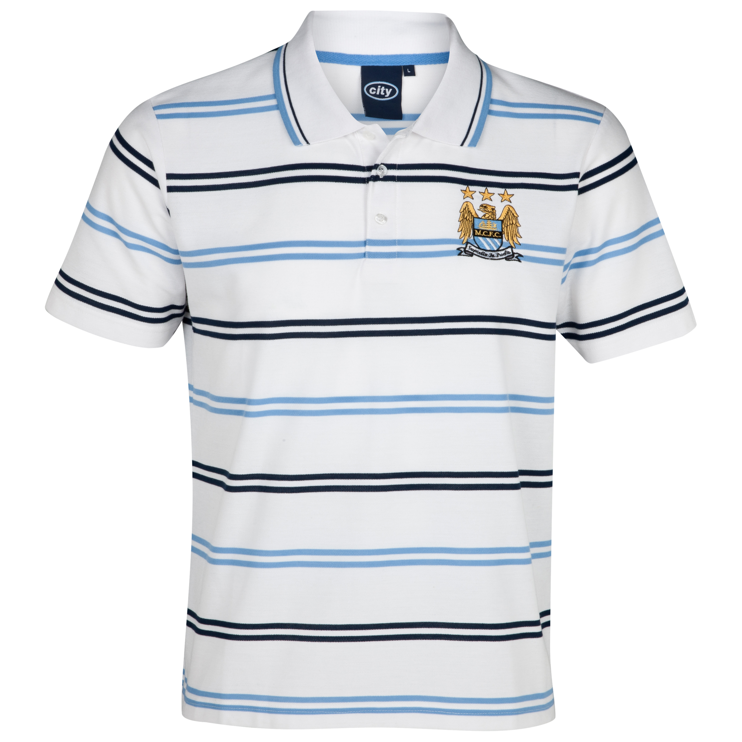 Manchester City Essential Hale Polo Top - White/Sky - Older Boys