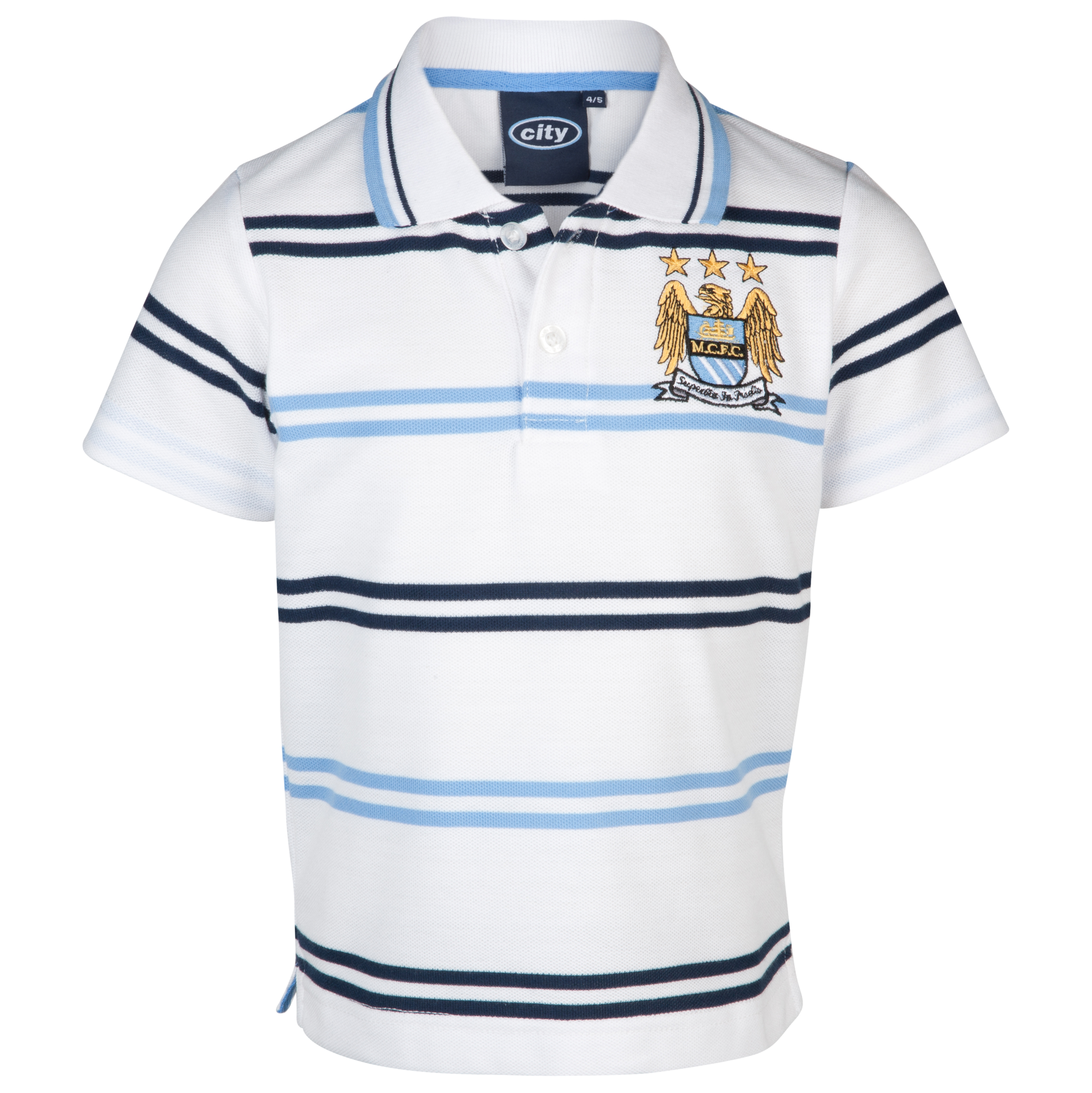 Manchester City Essential Hale Polo Top - White/Sky - Infant Boys