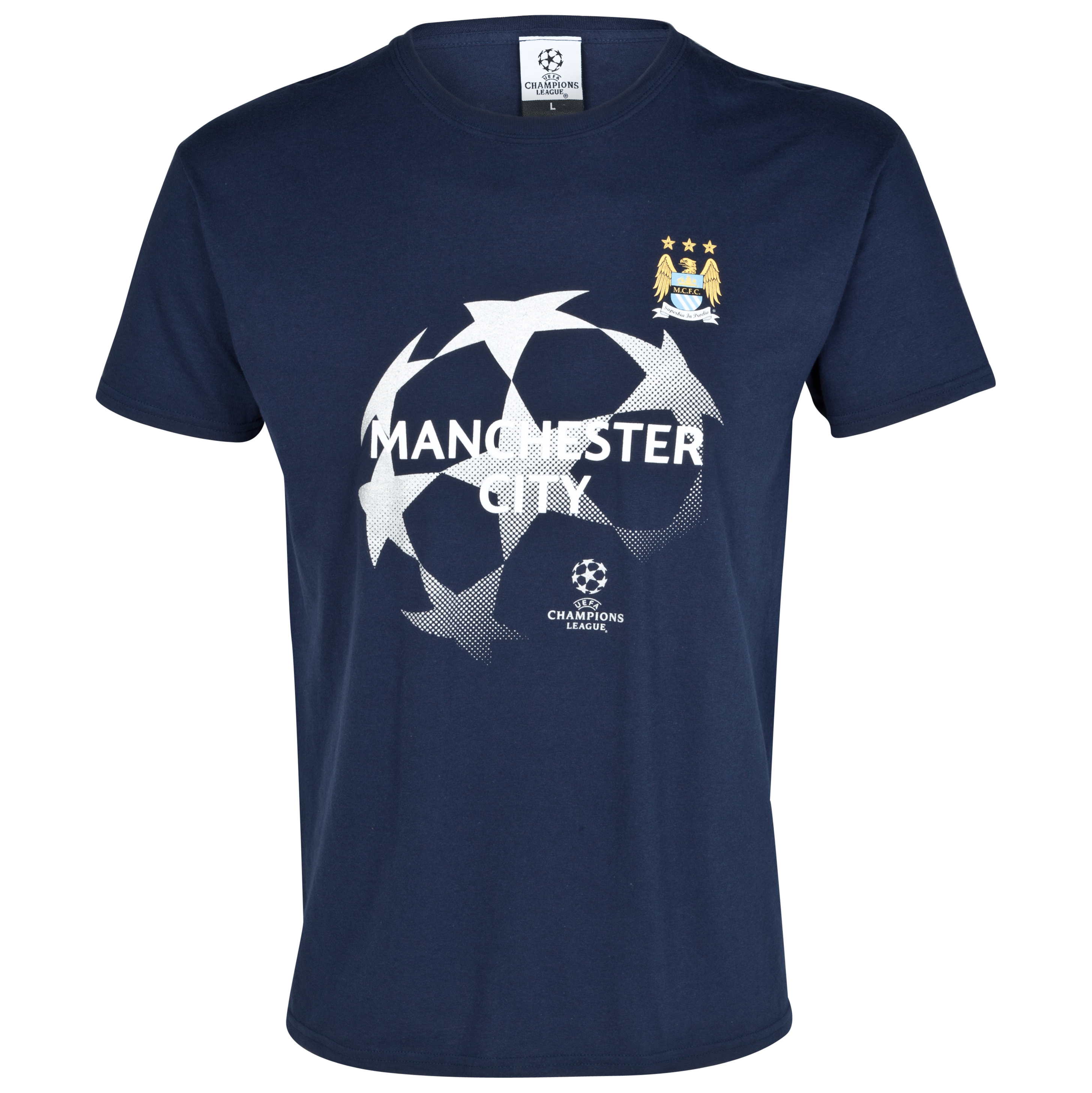 Manchester City UEFA Champions League Metallic Print Starball T-Shirt - Navy - Junior