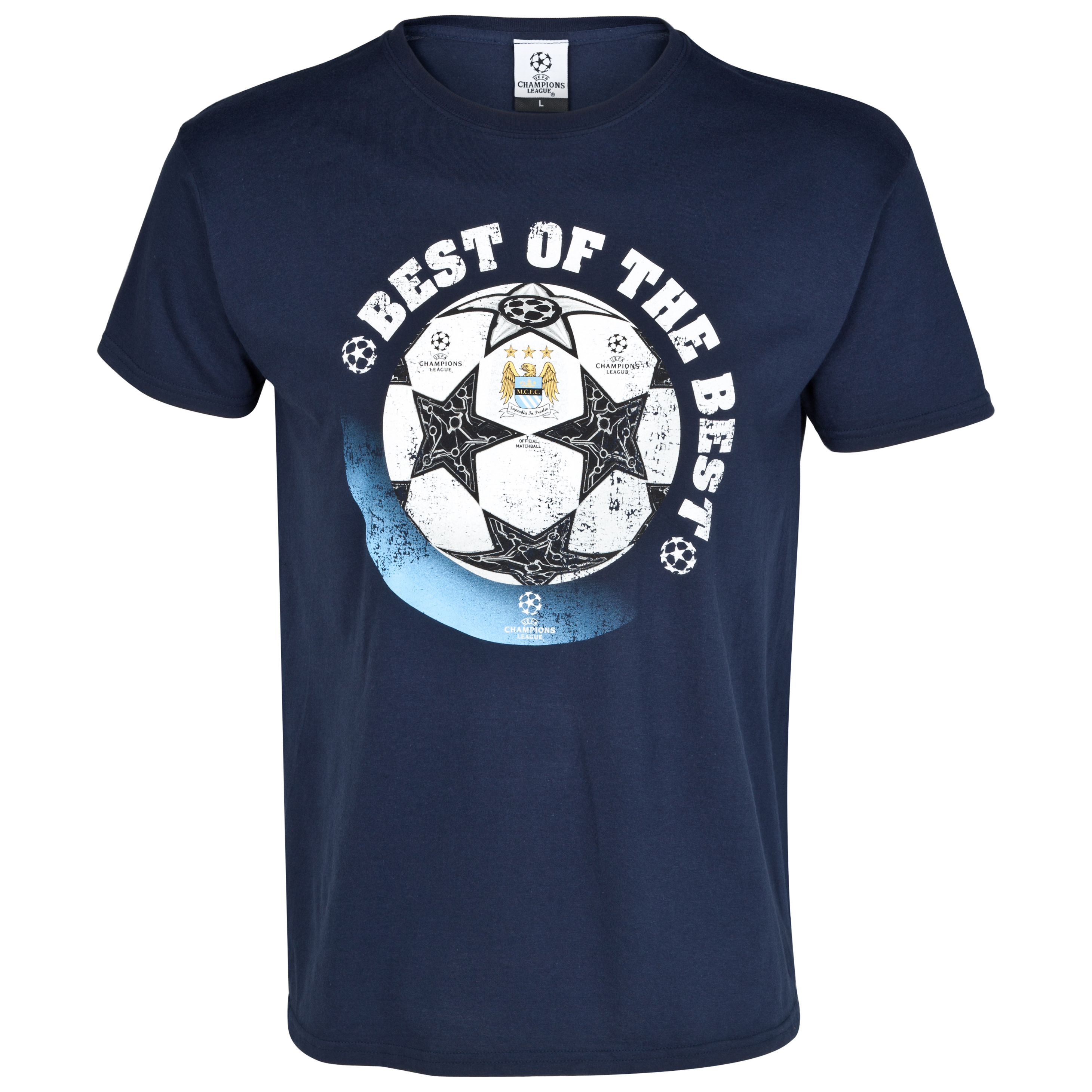 Manchester City UEFA Champions League Official Ball Printed T-Shirt - Navy
