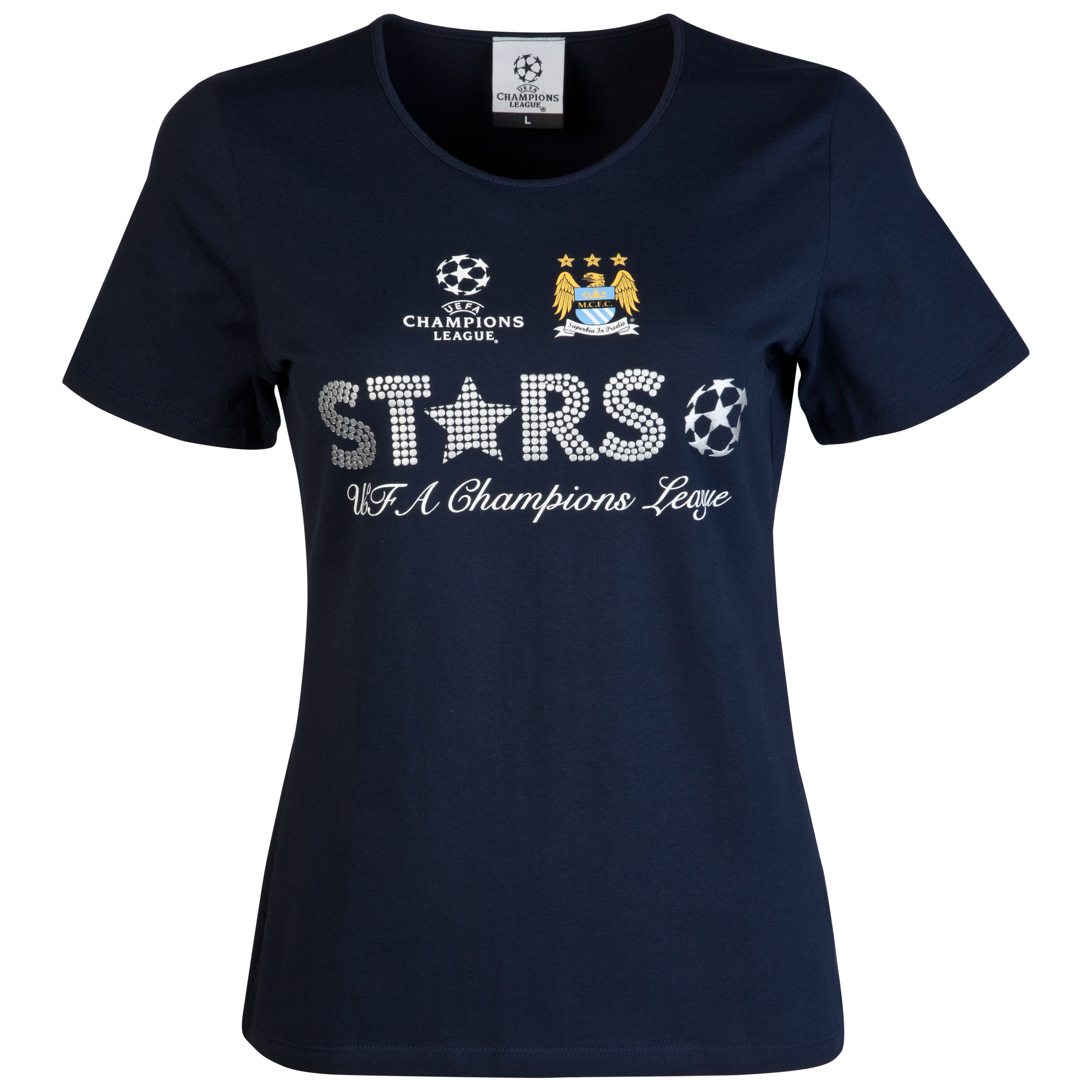 Manchester City UEFA Champions League Metallic Print T-Shirt - Navy - Womens