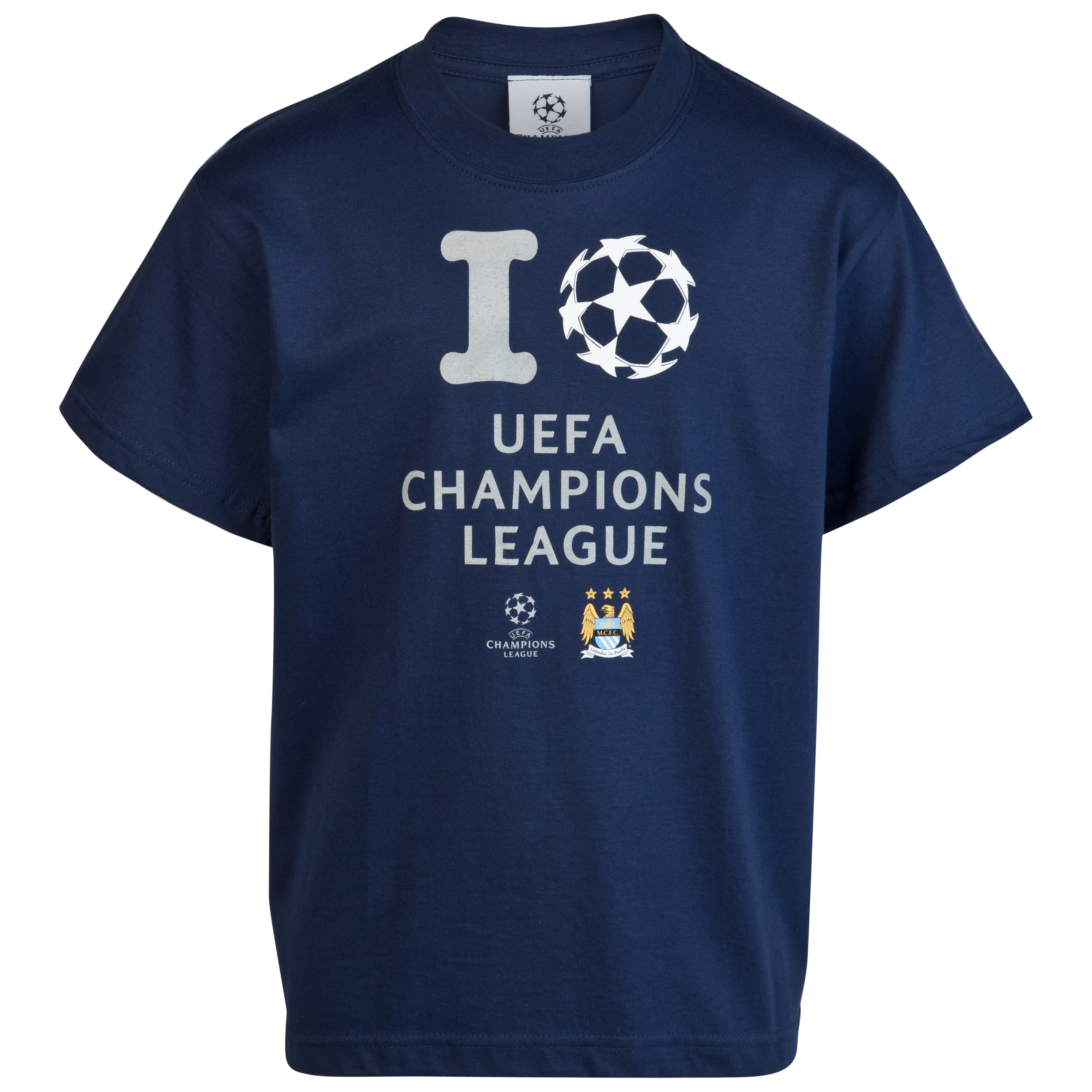 Manchester City UEFA Champions League 'I Love UCL' Glow in the Dark Printed T-Shirt - Navy - Junior