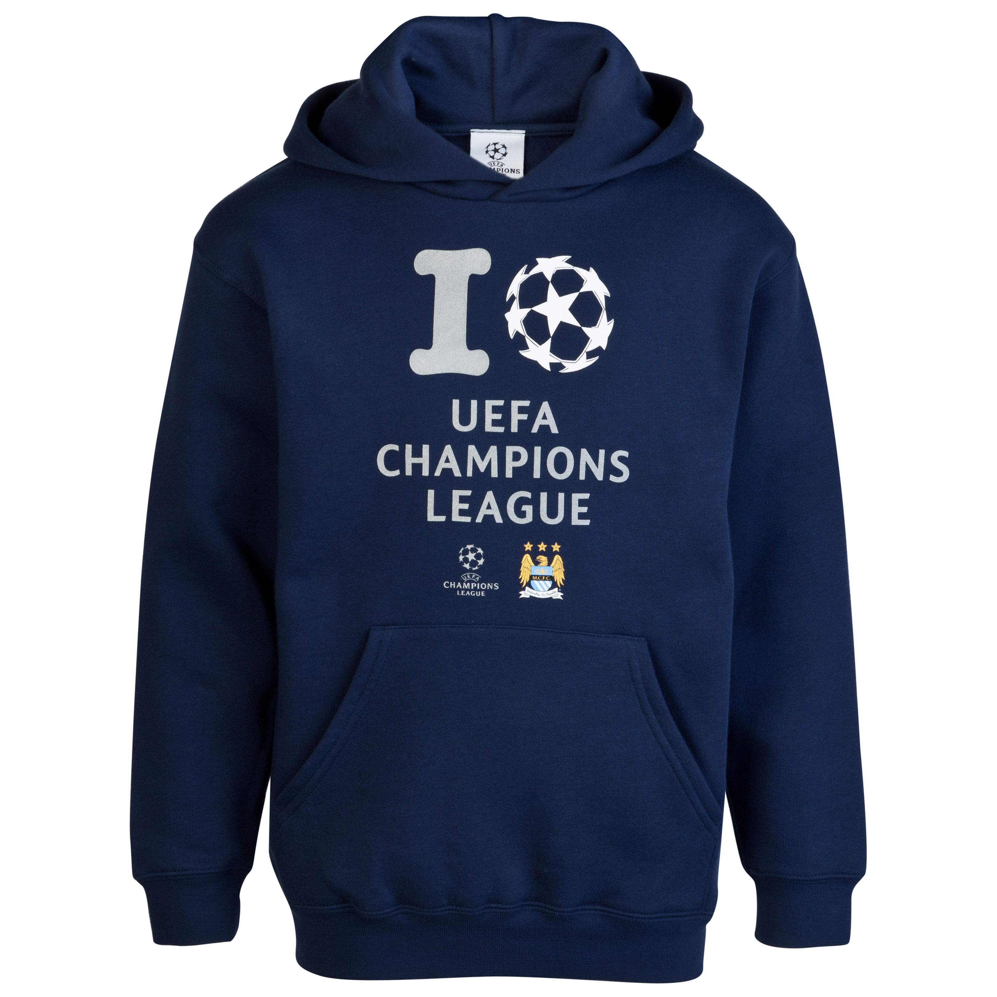 Manchester City UEFA Champions League 'I Love UCL' Glow in the Dark Printed Hoody - Navy - Junior
