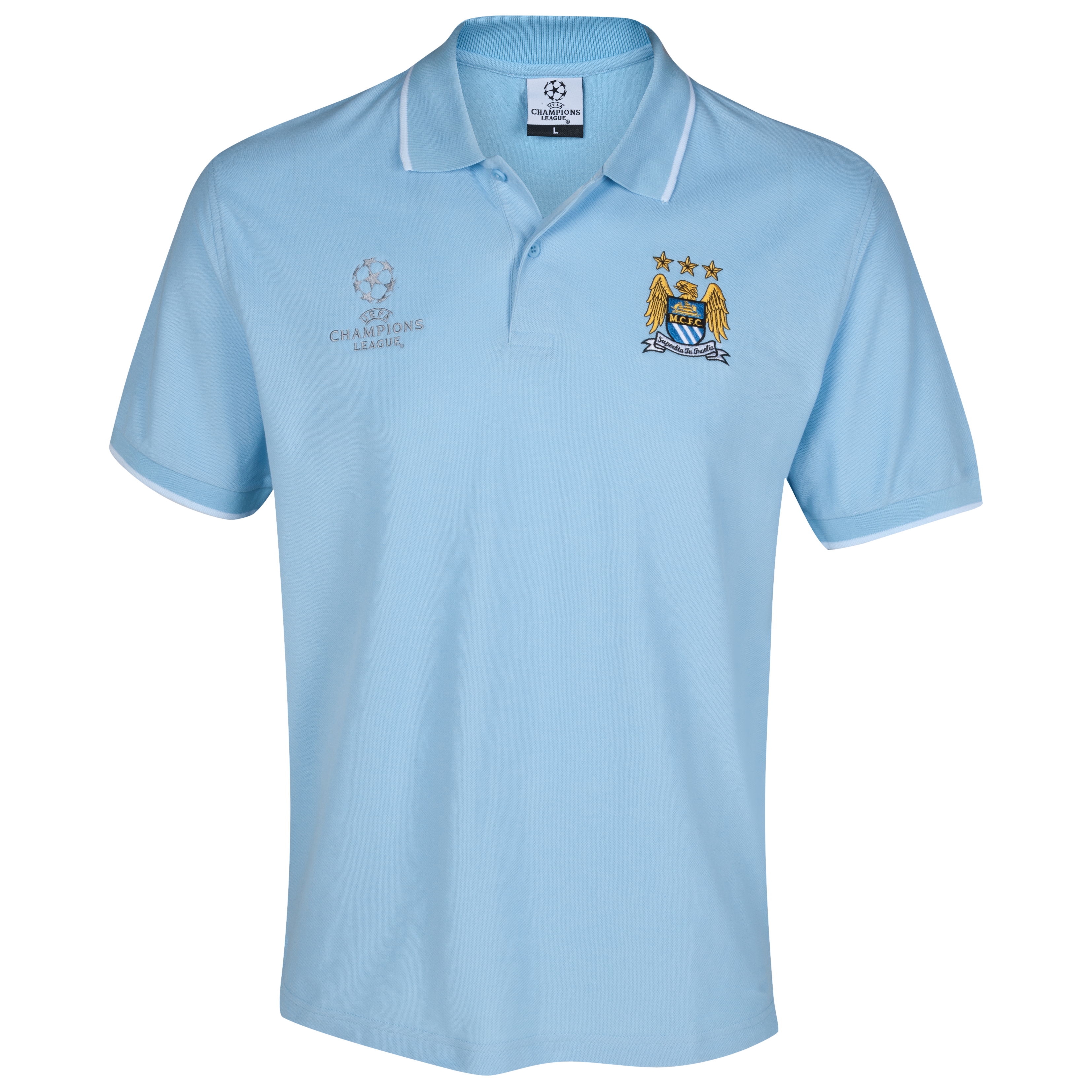 Manchester City UEFA Champions League Embroidered Tipped Polo - Sky