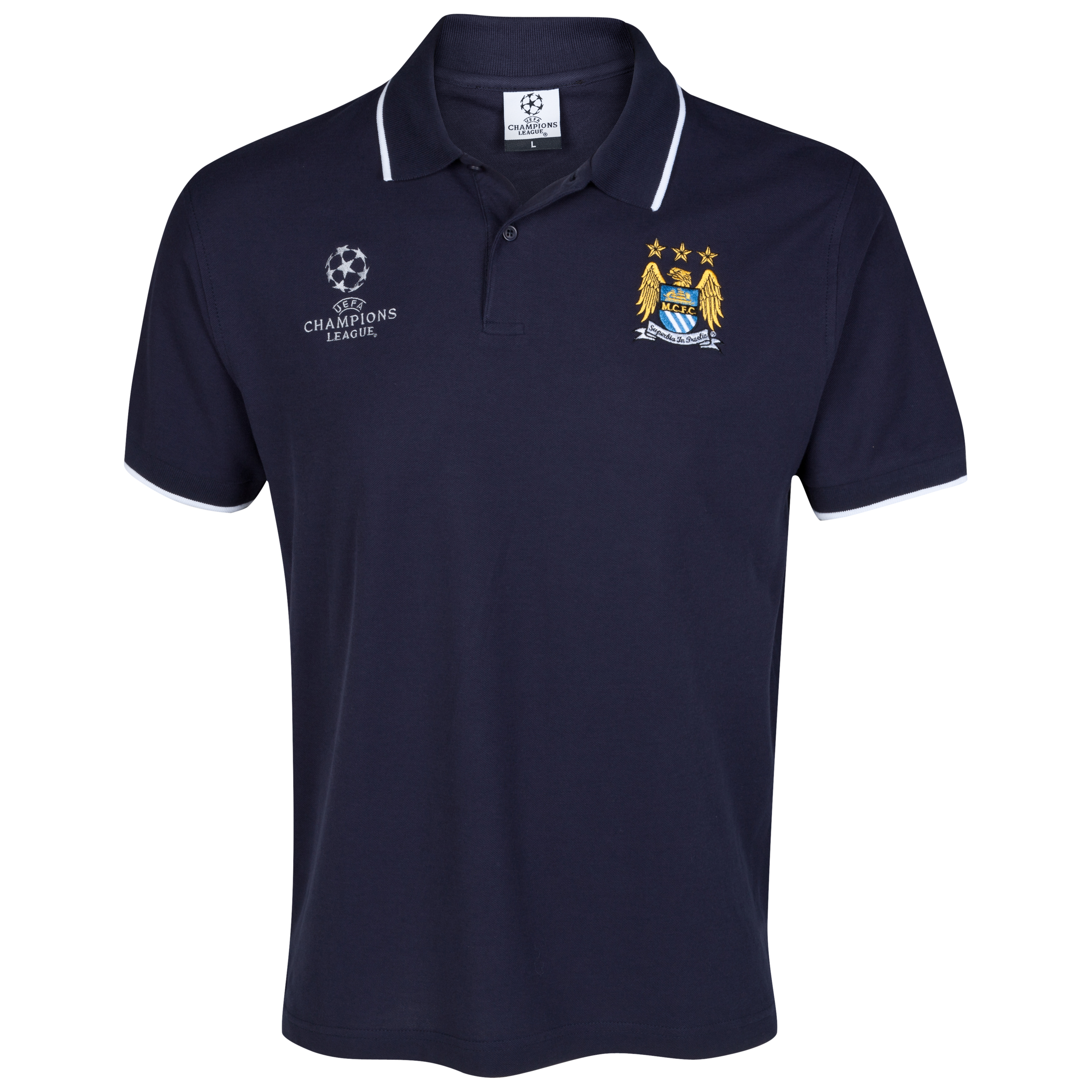 Manchester City UEFA Champions League Embroidered Tipped Polo - Navy