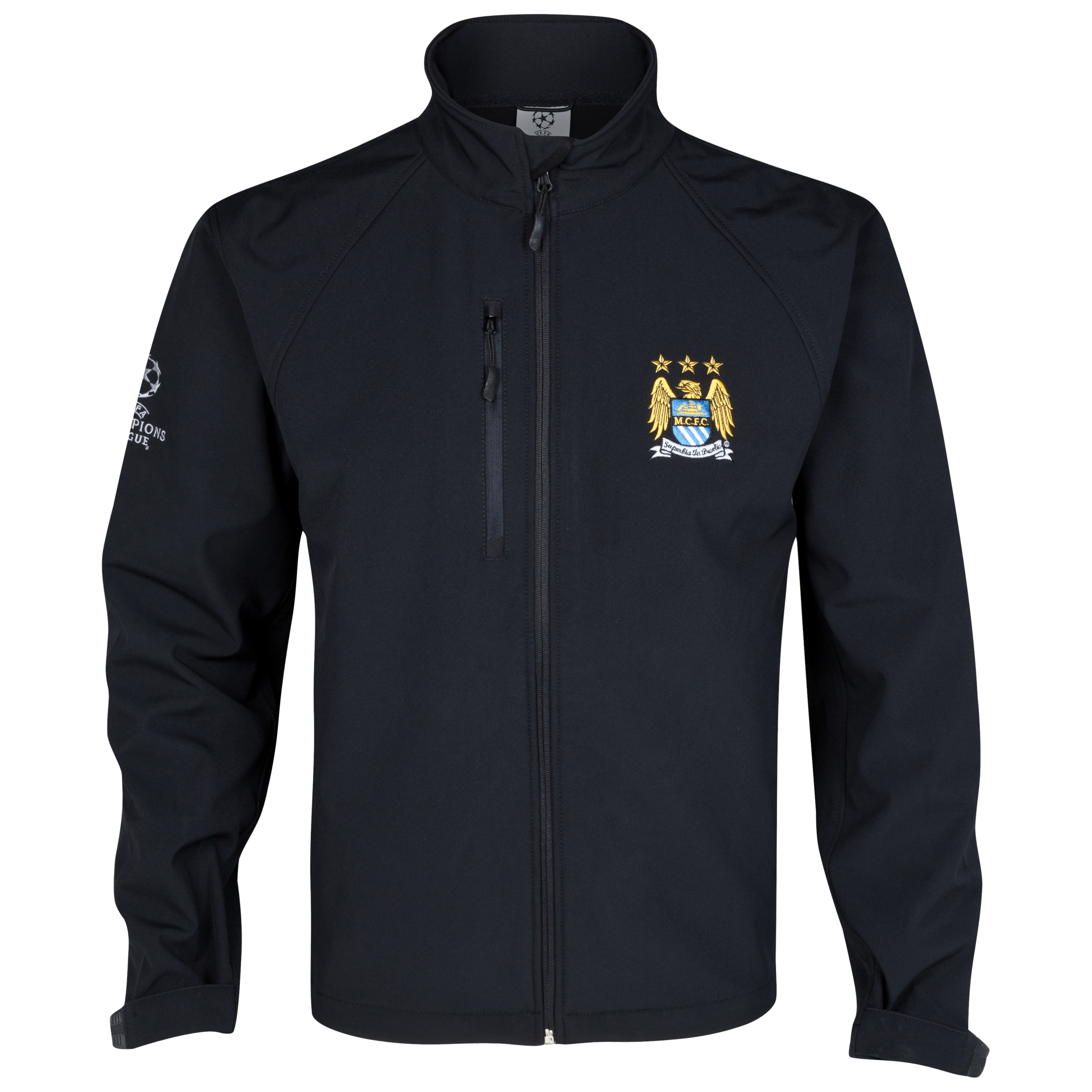 Manchester City UEFA Champions League Embroidered Soft Shell Jacket - Black