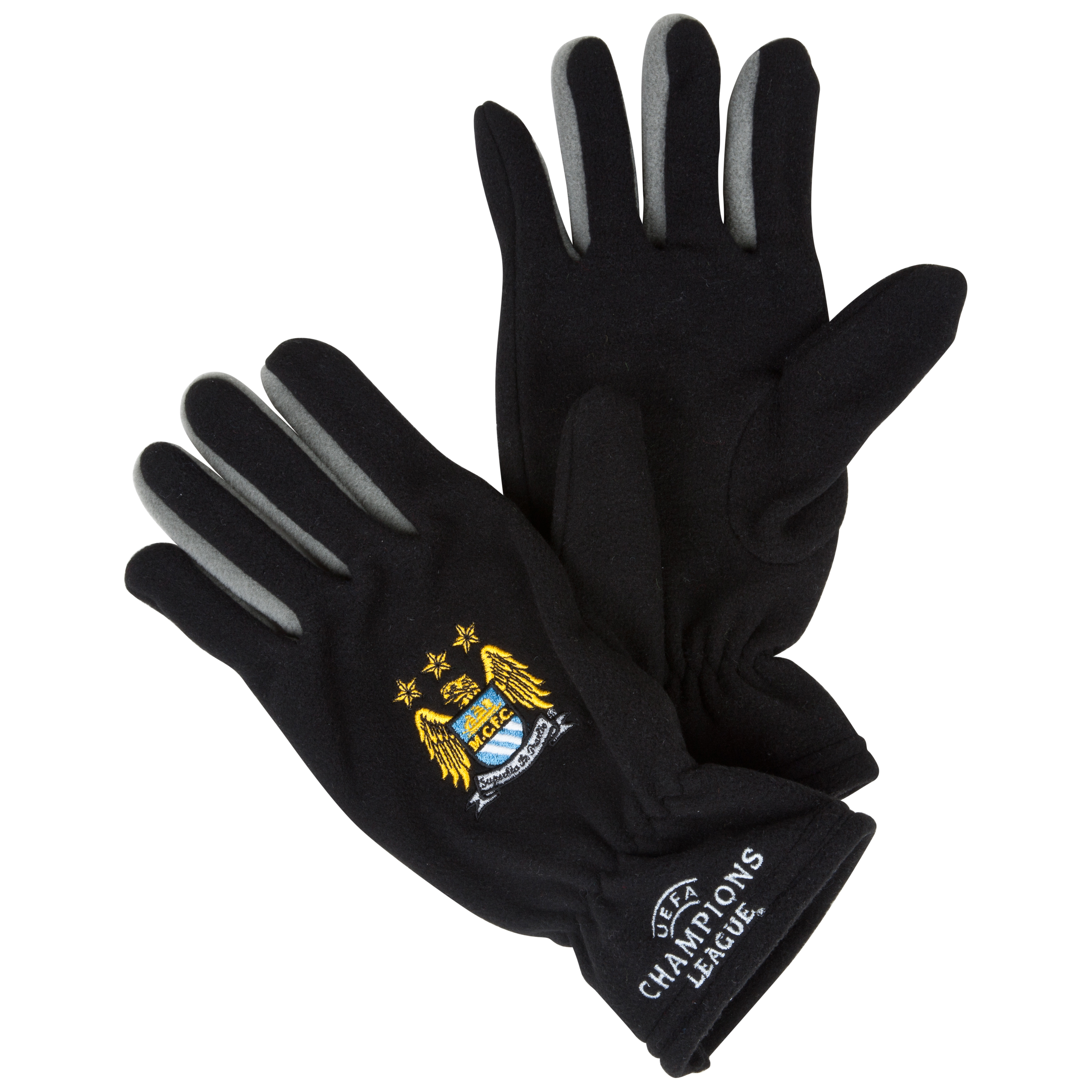 Manchester City UEFA Champions League Embroidered Classic Fleece Gloves - Black