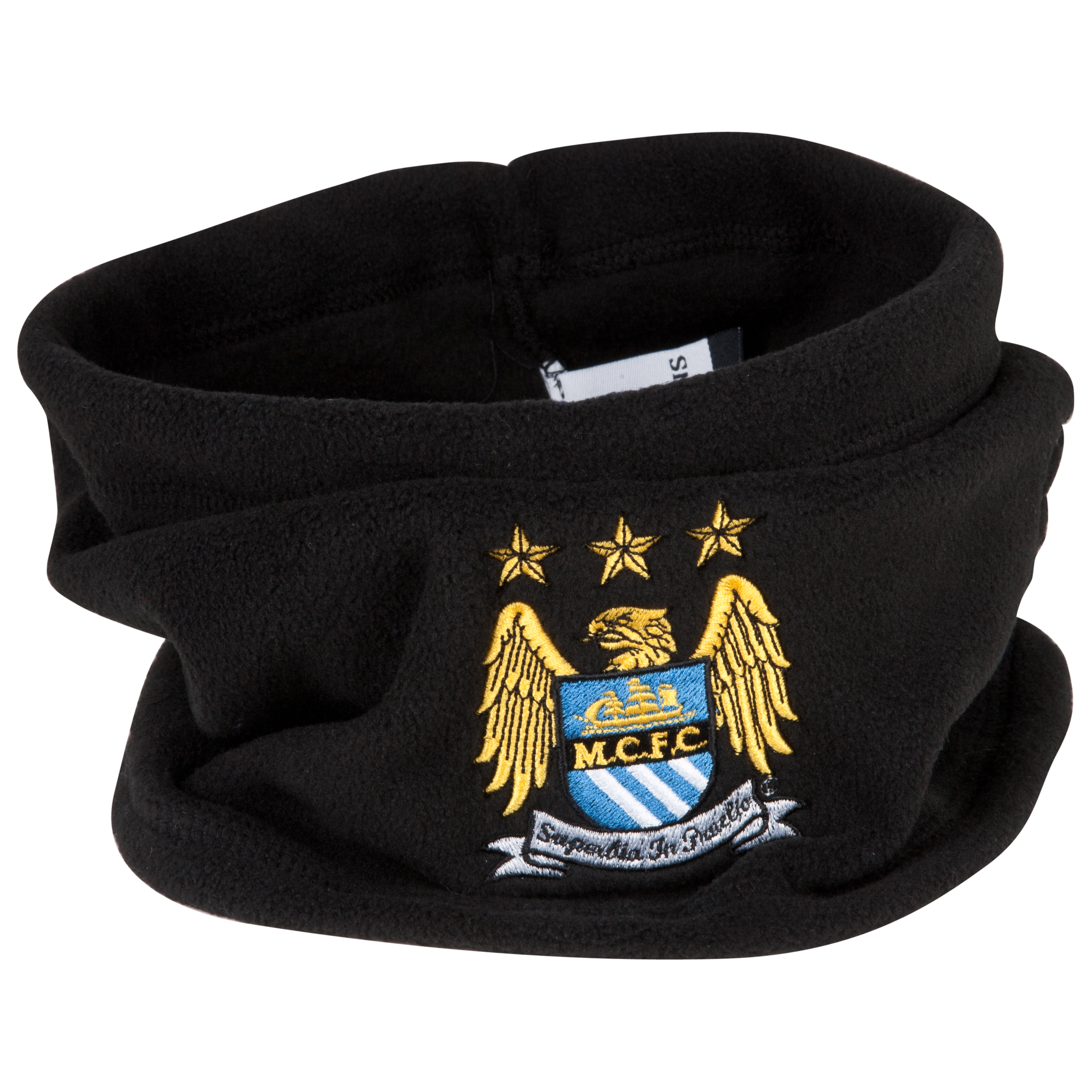 Manchester City UEFA Champions League Embroidered Fleece Hat/Neck Warmer - Black