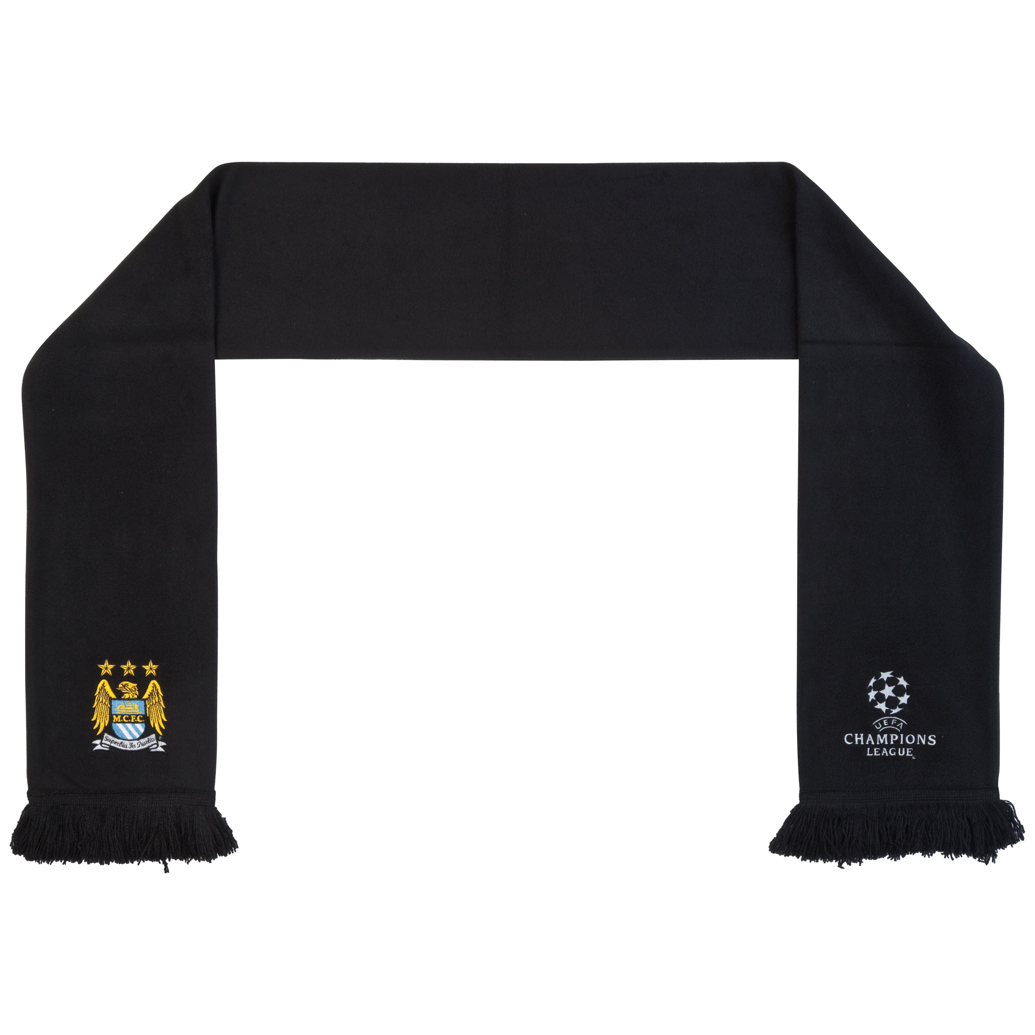 Manchester City UEFA Champions League Embroidered Classic Fleece Scarf - Black