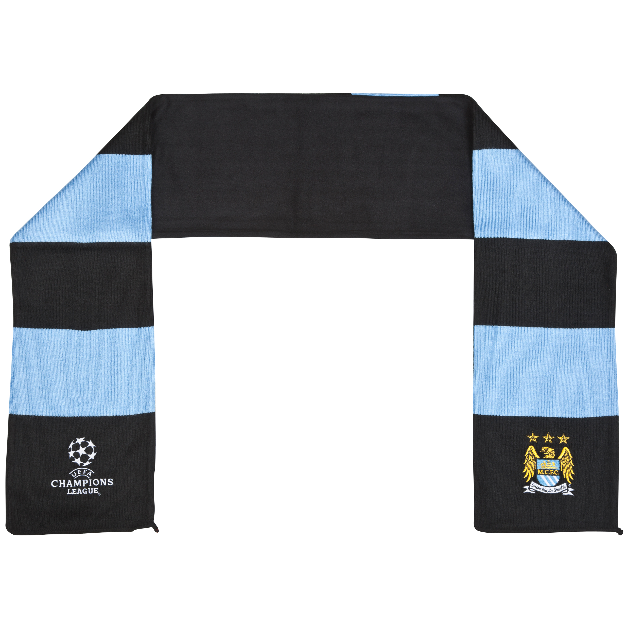 Manchester City Jacquard and Fleece Scarf - Black/Sky