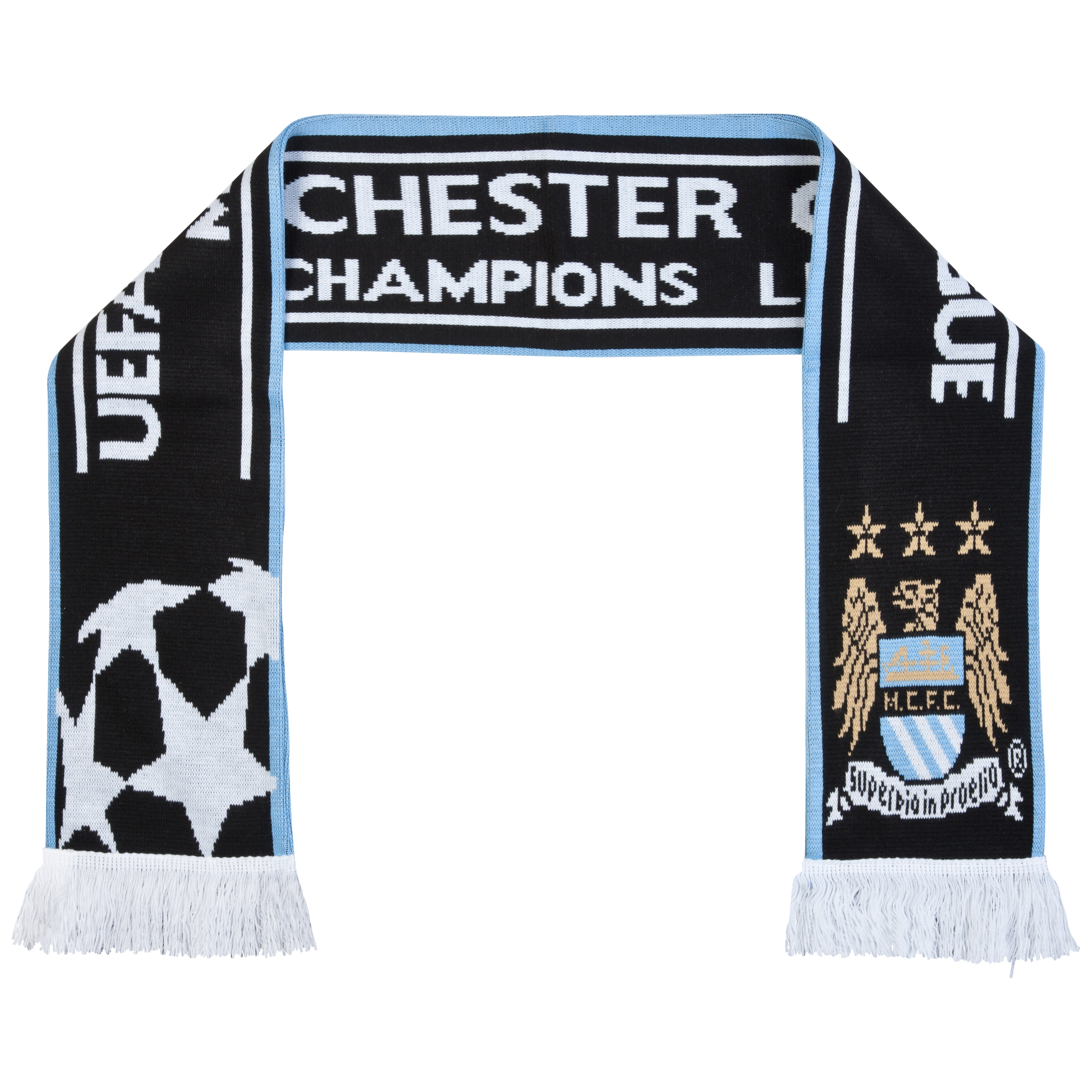 Manchester City UEFA Champions League Jacquard Scarf - Black/Sky