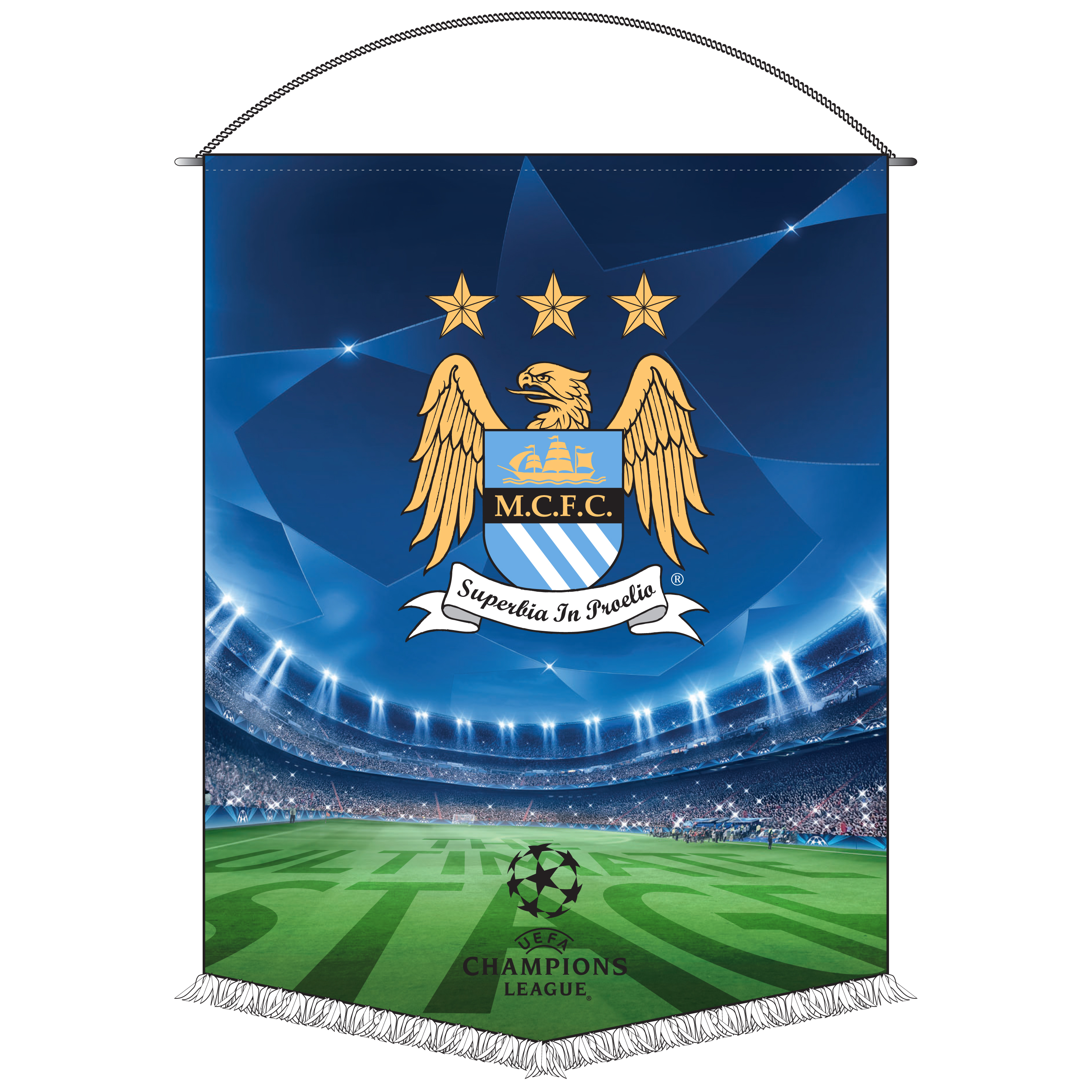 Manchester City Champions League Pennant - 38x28cm