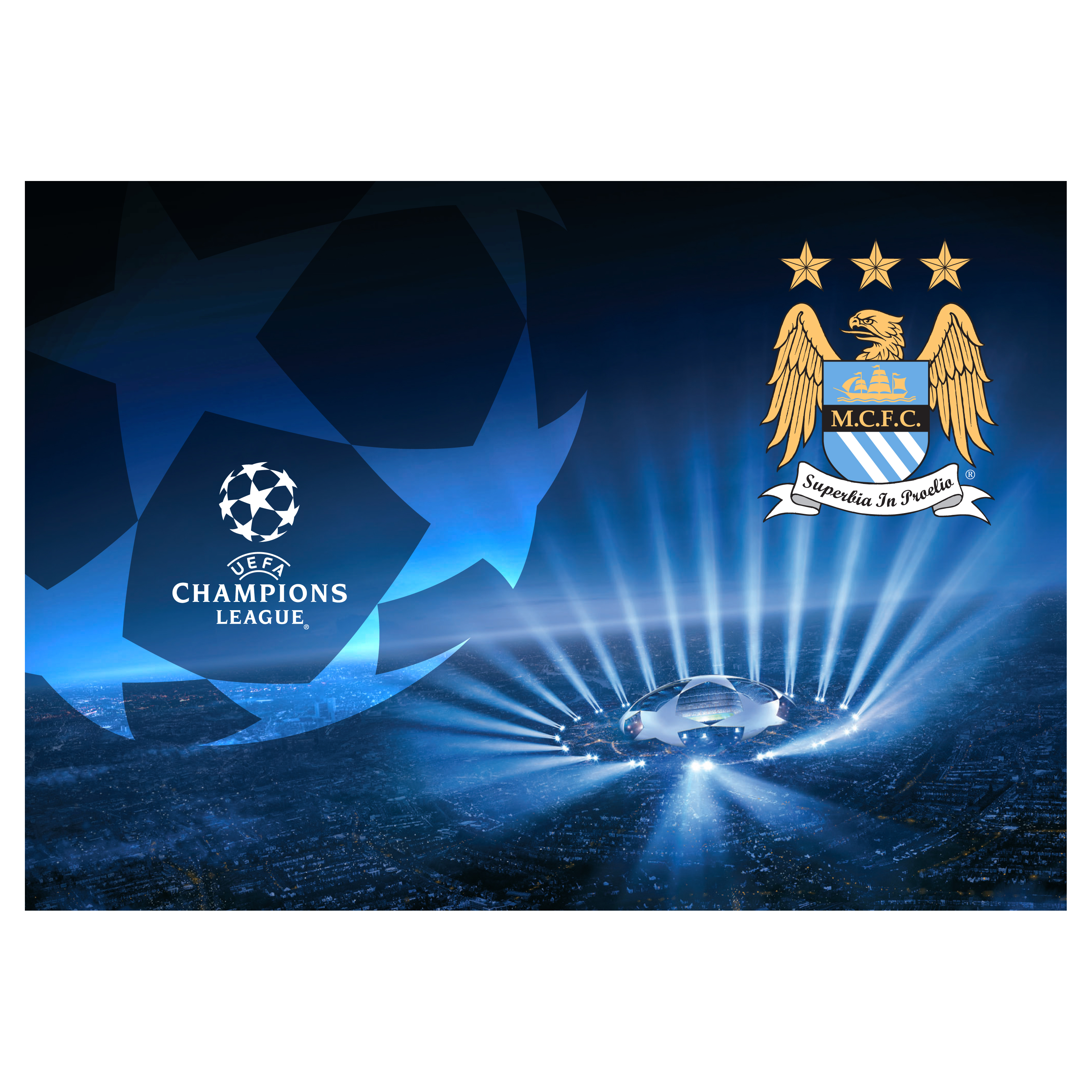 Manchester City Champions League Flag - 96x66cm