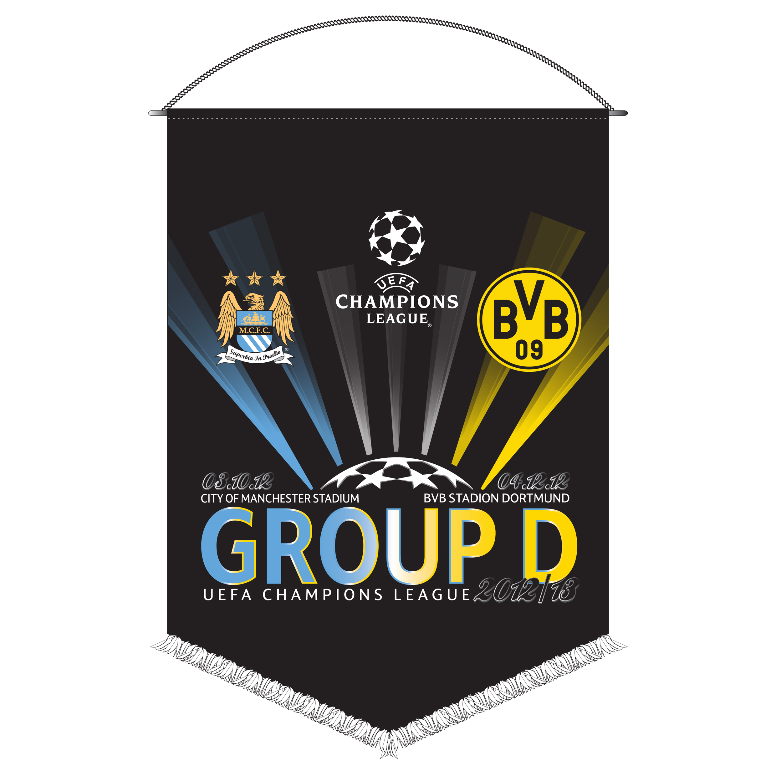 Manchester City Champions League Friendship Pennant - Borussia Dortmund