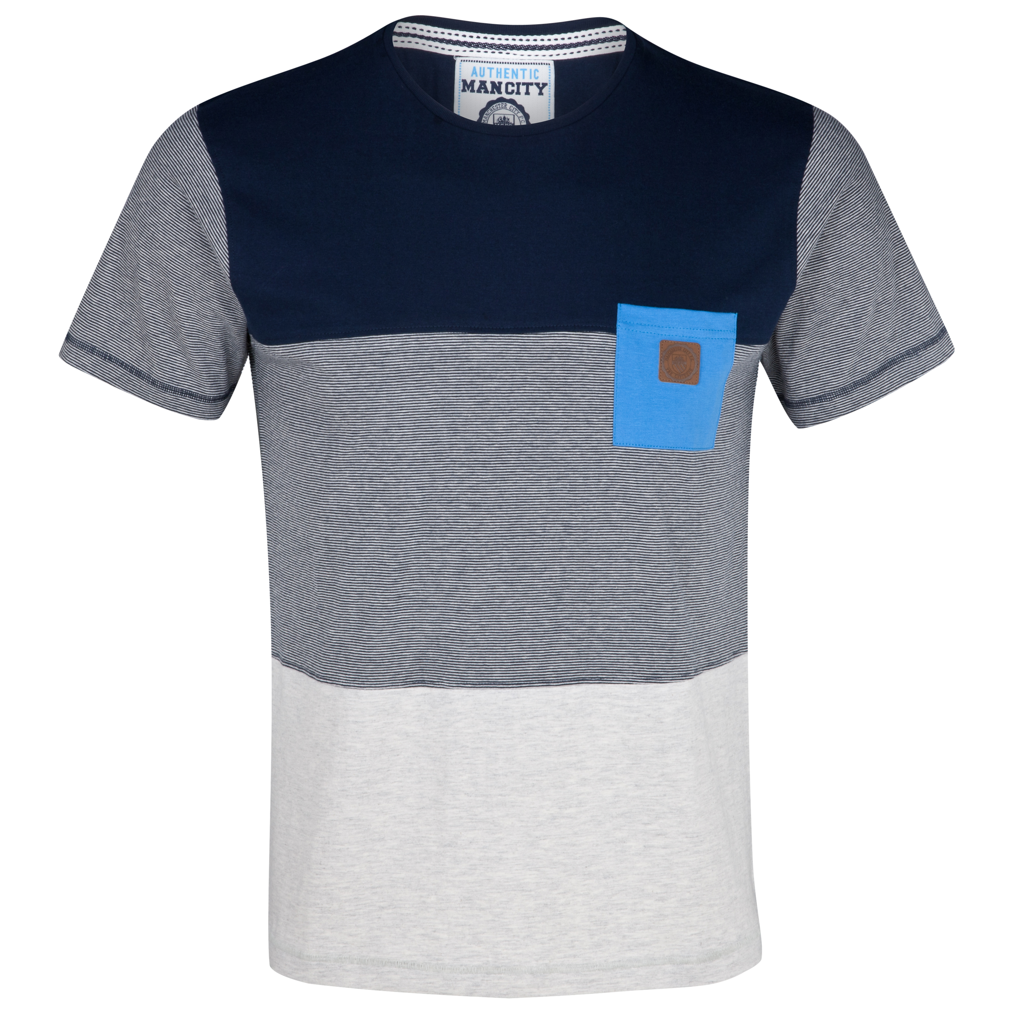 Manchester City Panels T-Shirt - Navy/Ecru Marl