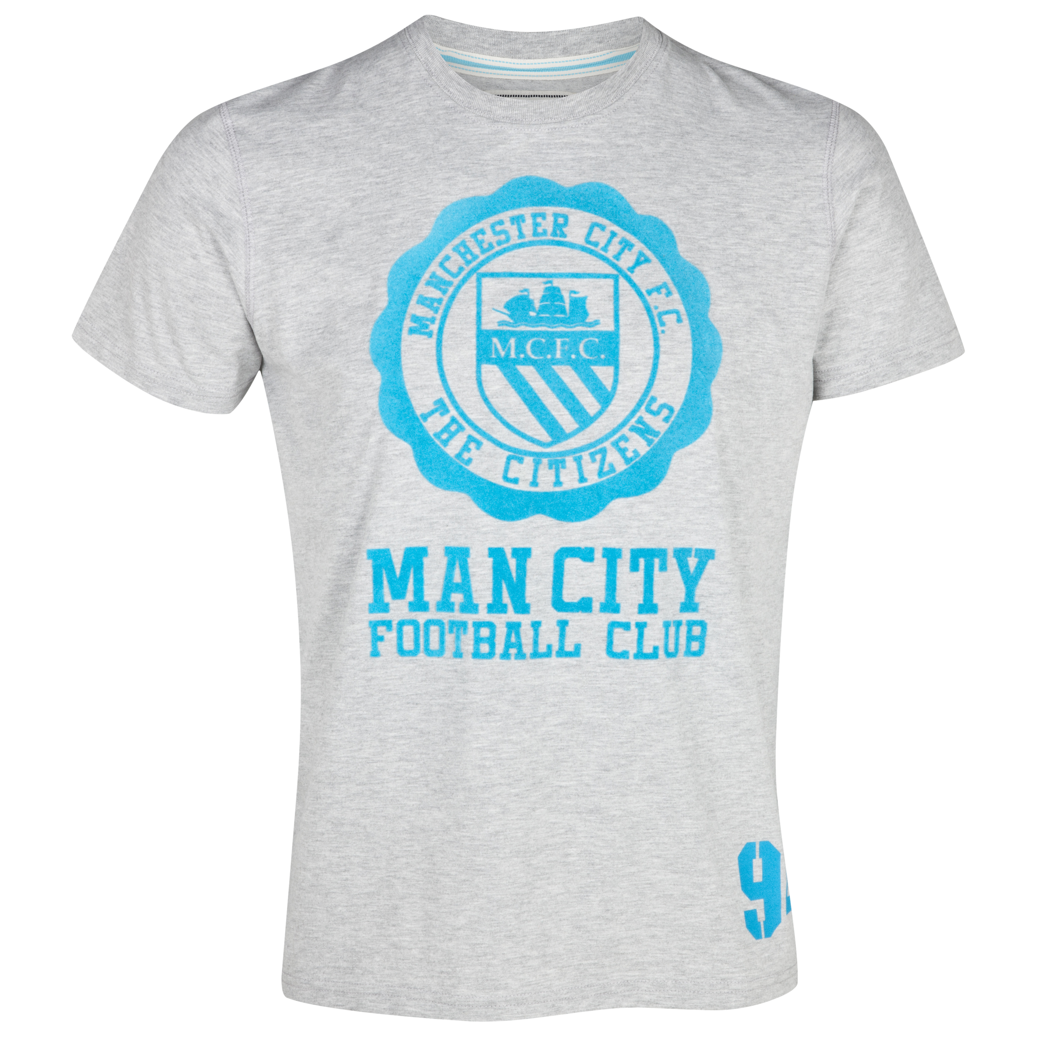 Manchester City Halo T-Shirt - Grey/Aqua - Older Boys
