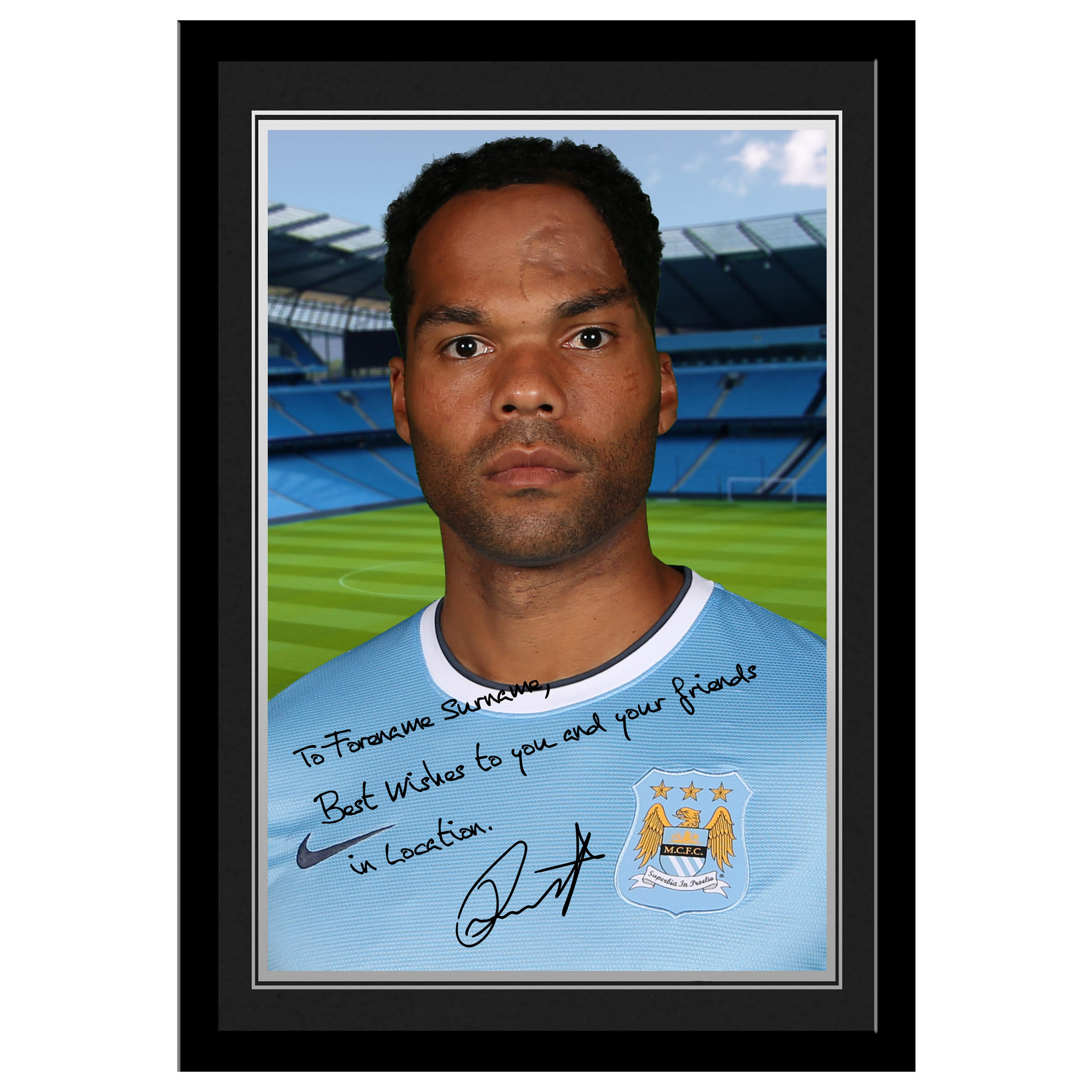 Manchester City Personalised Signature Photo Frame -Joleon Lescott