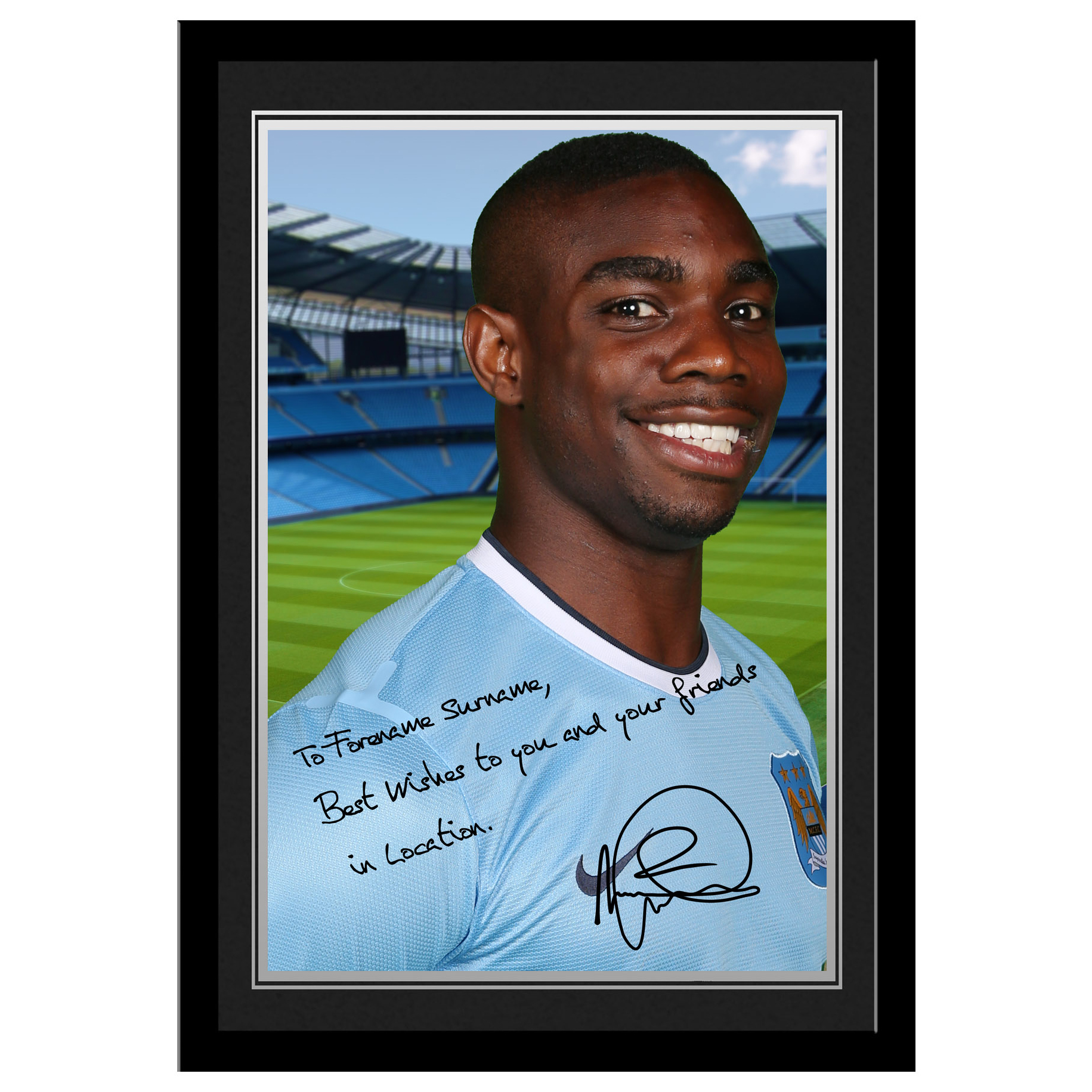 Manchester City Personalised Signature Photo Frame -Micah Richards