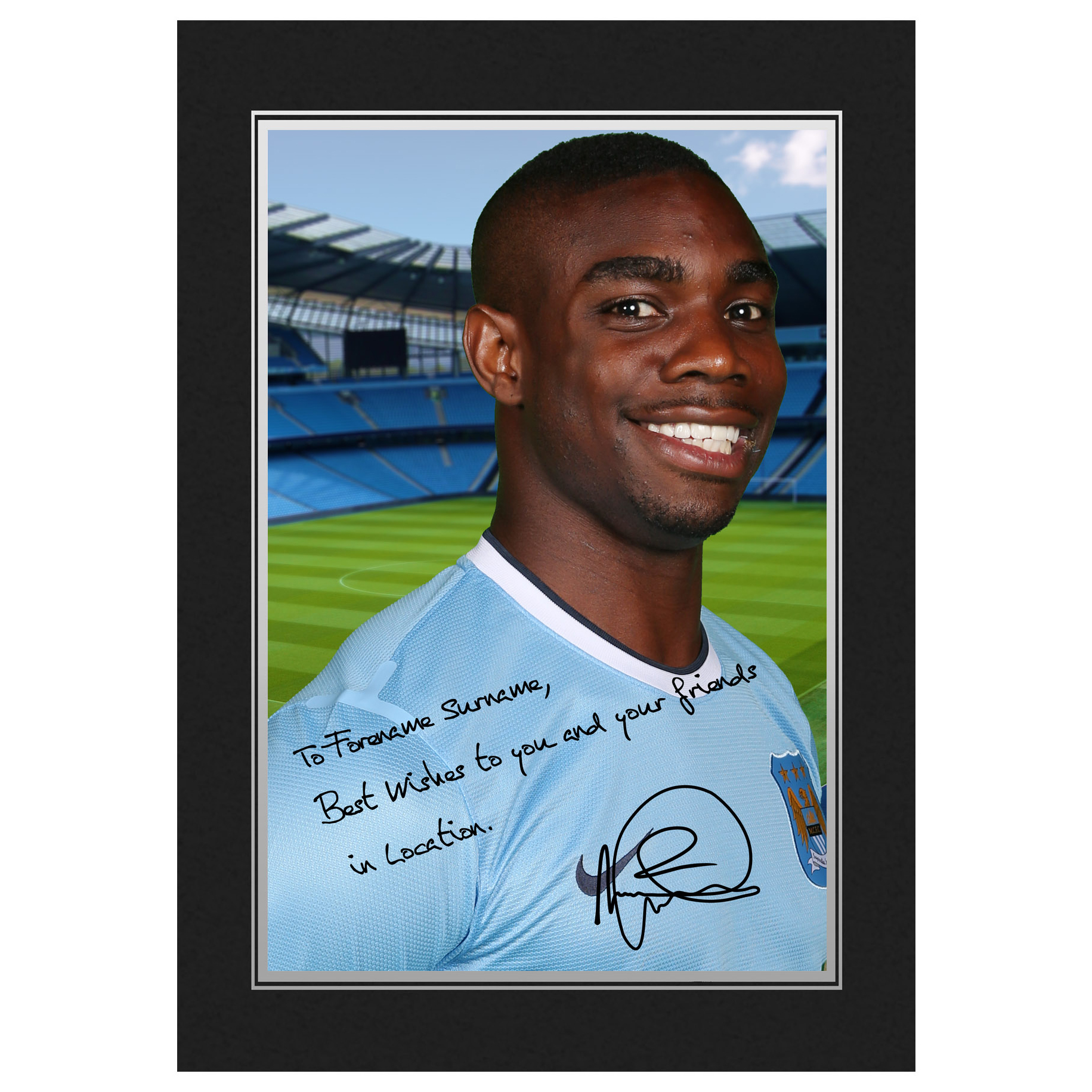Manchester City Personalised Signature Photo in Presentation Folder - Micah Richards