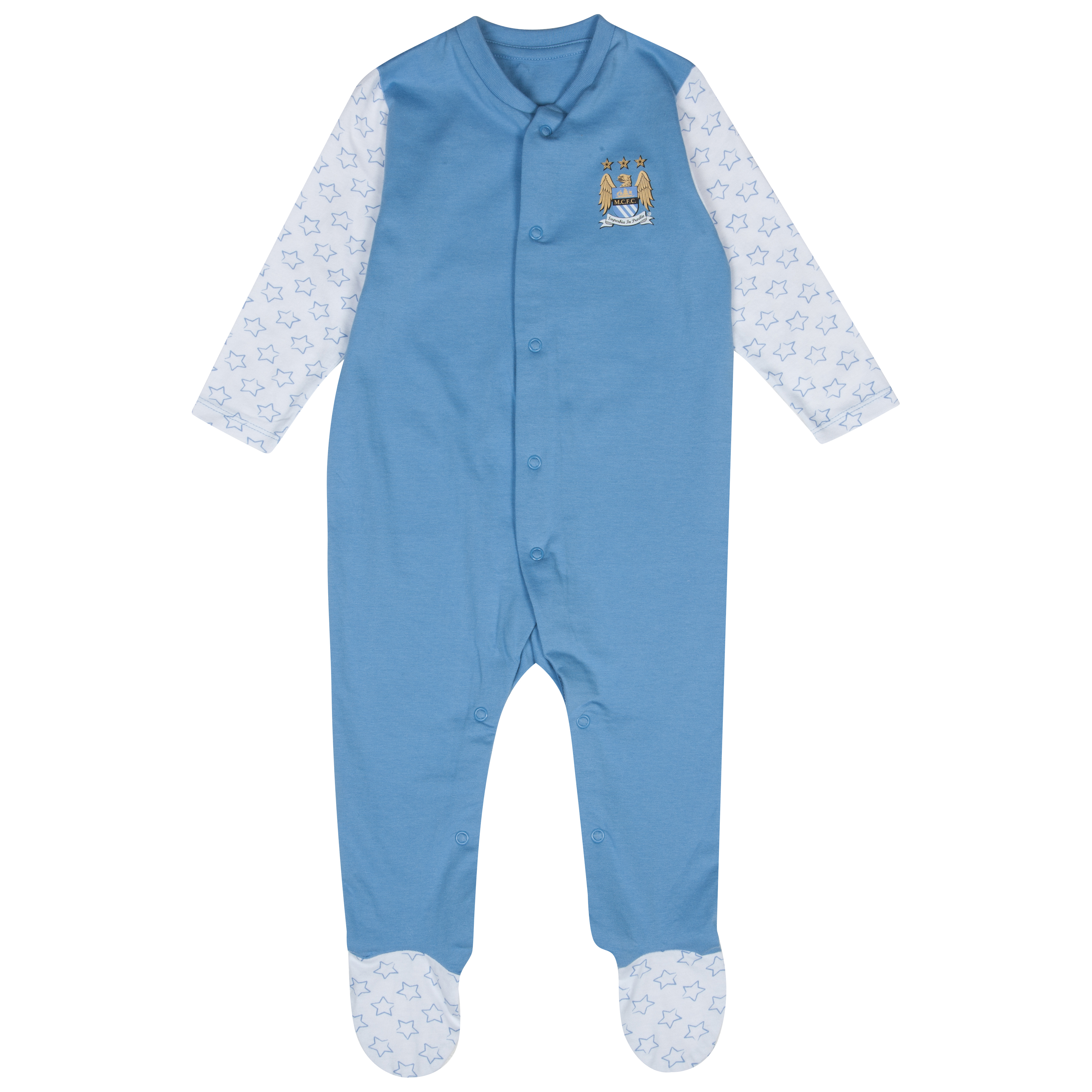 Manchester City Star Sleepsuit - Sky/White - Baby