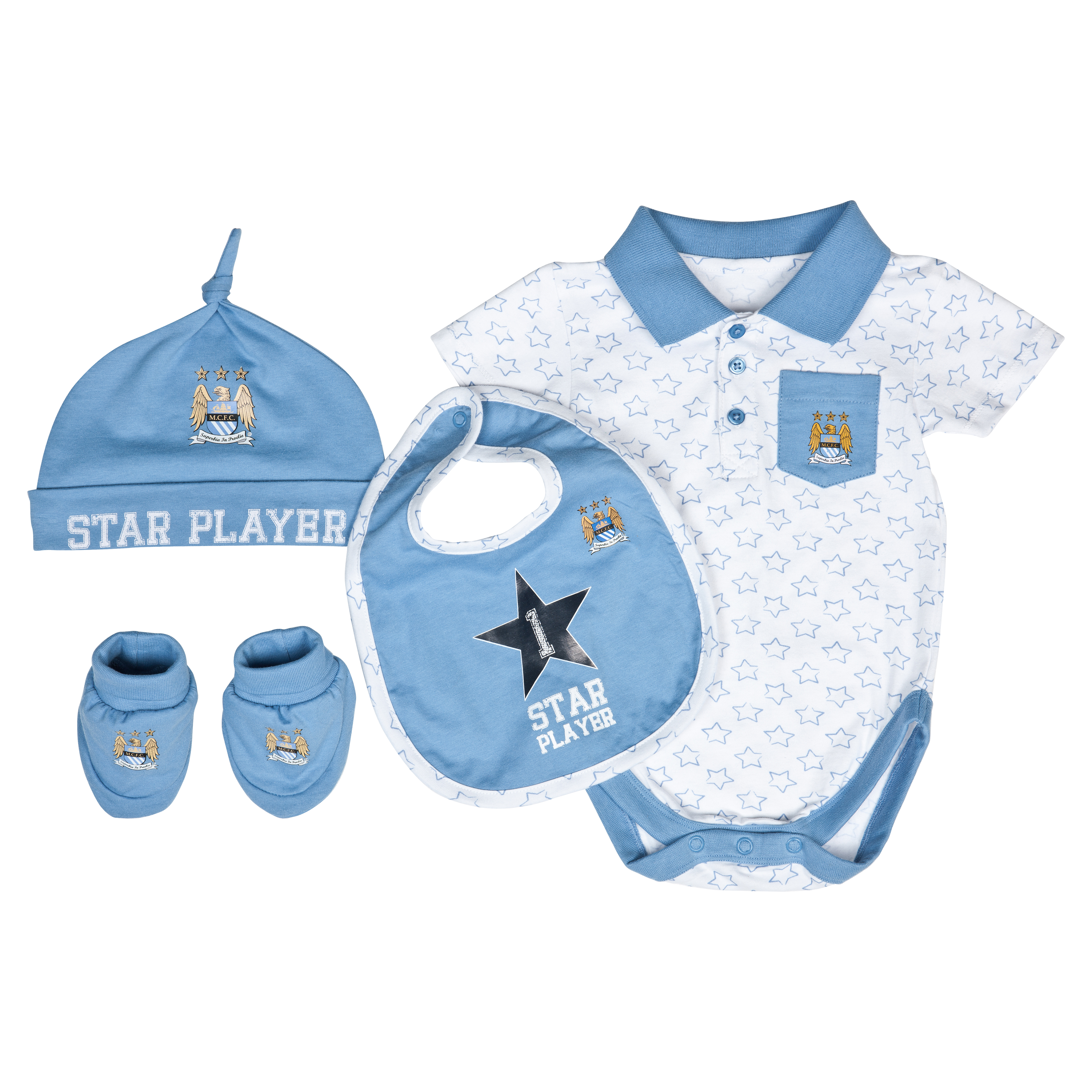 Manchester City Star Gift Set - White/Sky - Baby