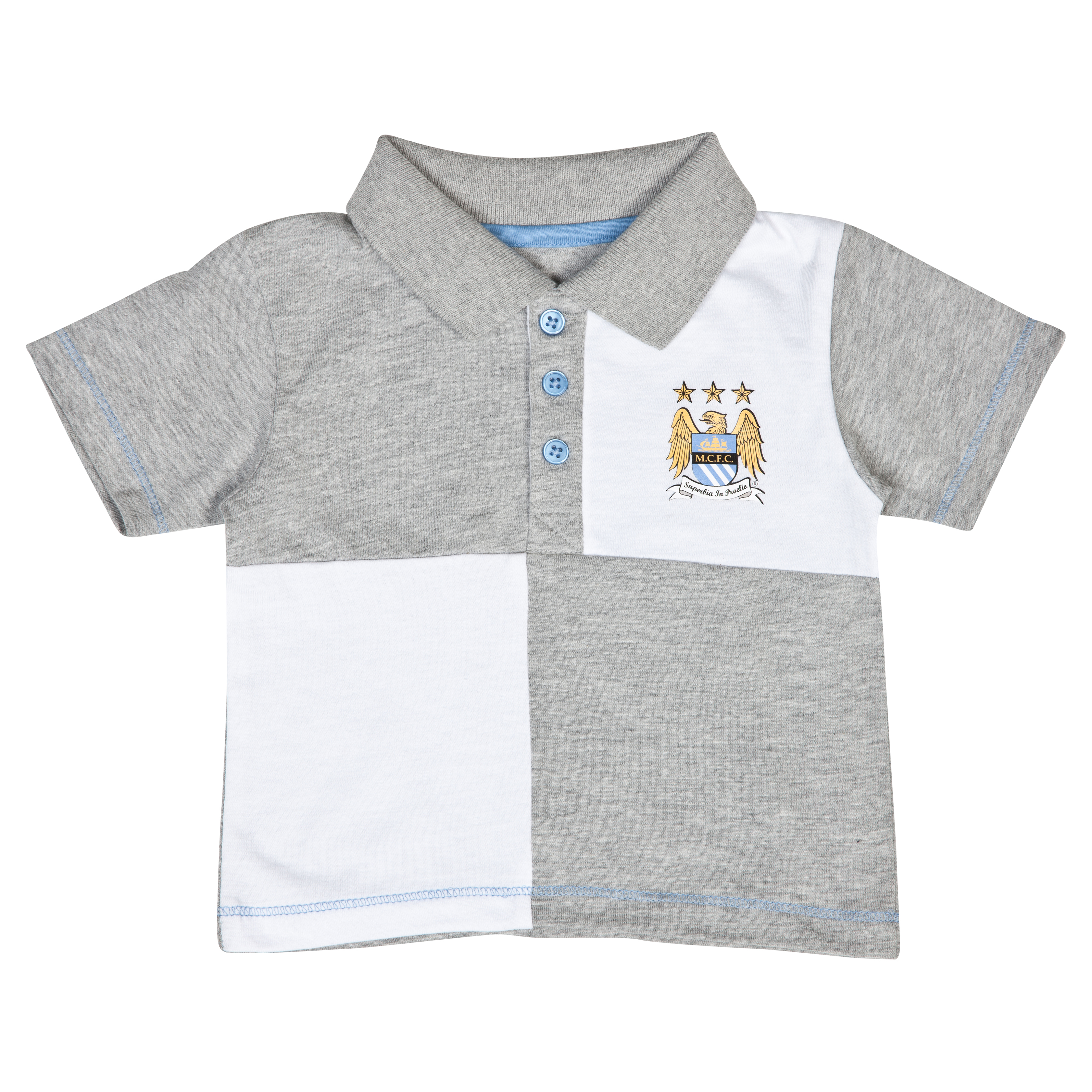 Manchester City Quarter Polo Top - Grey/White