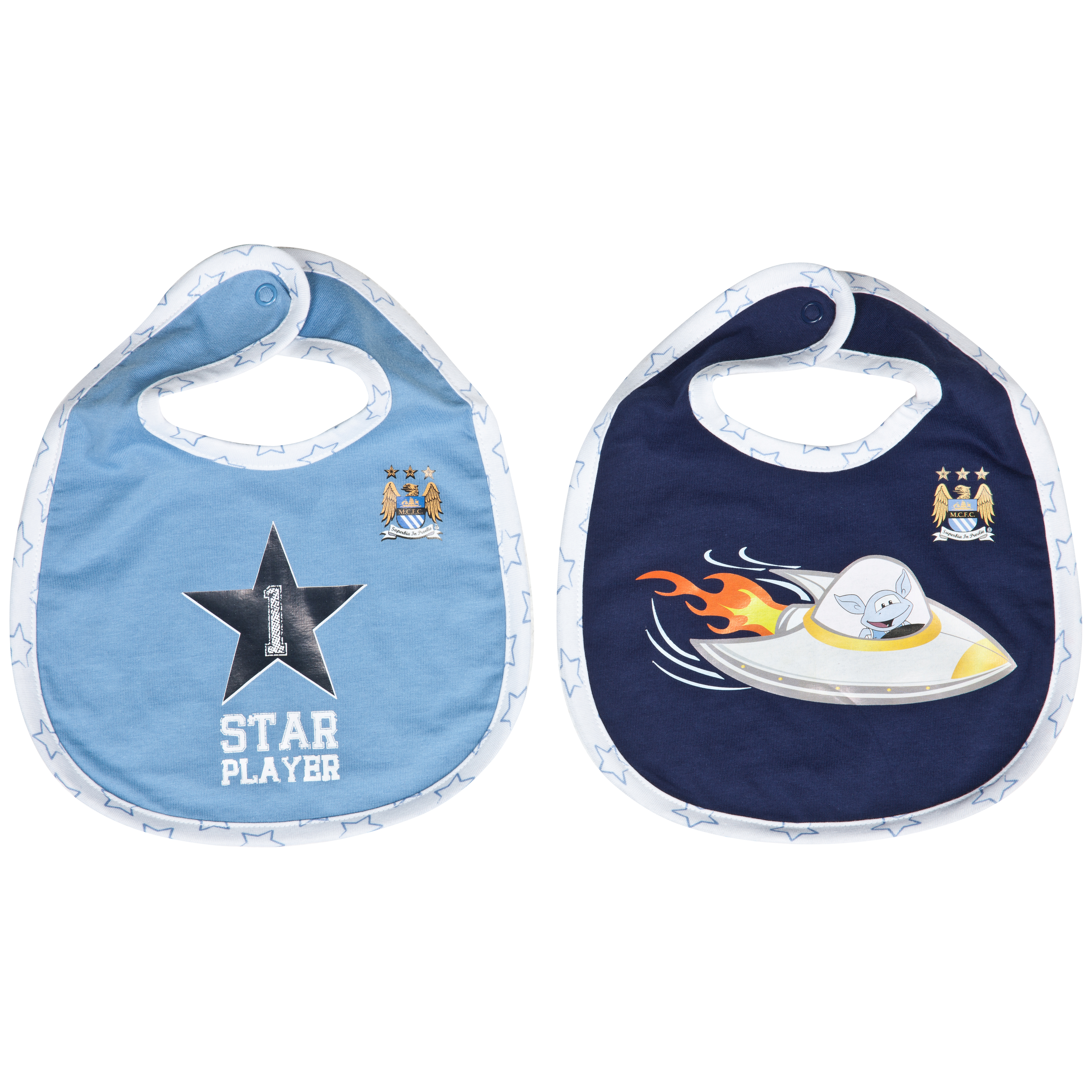 Manchester City Star Pack of 2 Bibs - Sky/Navy - Baby