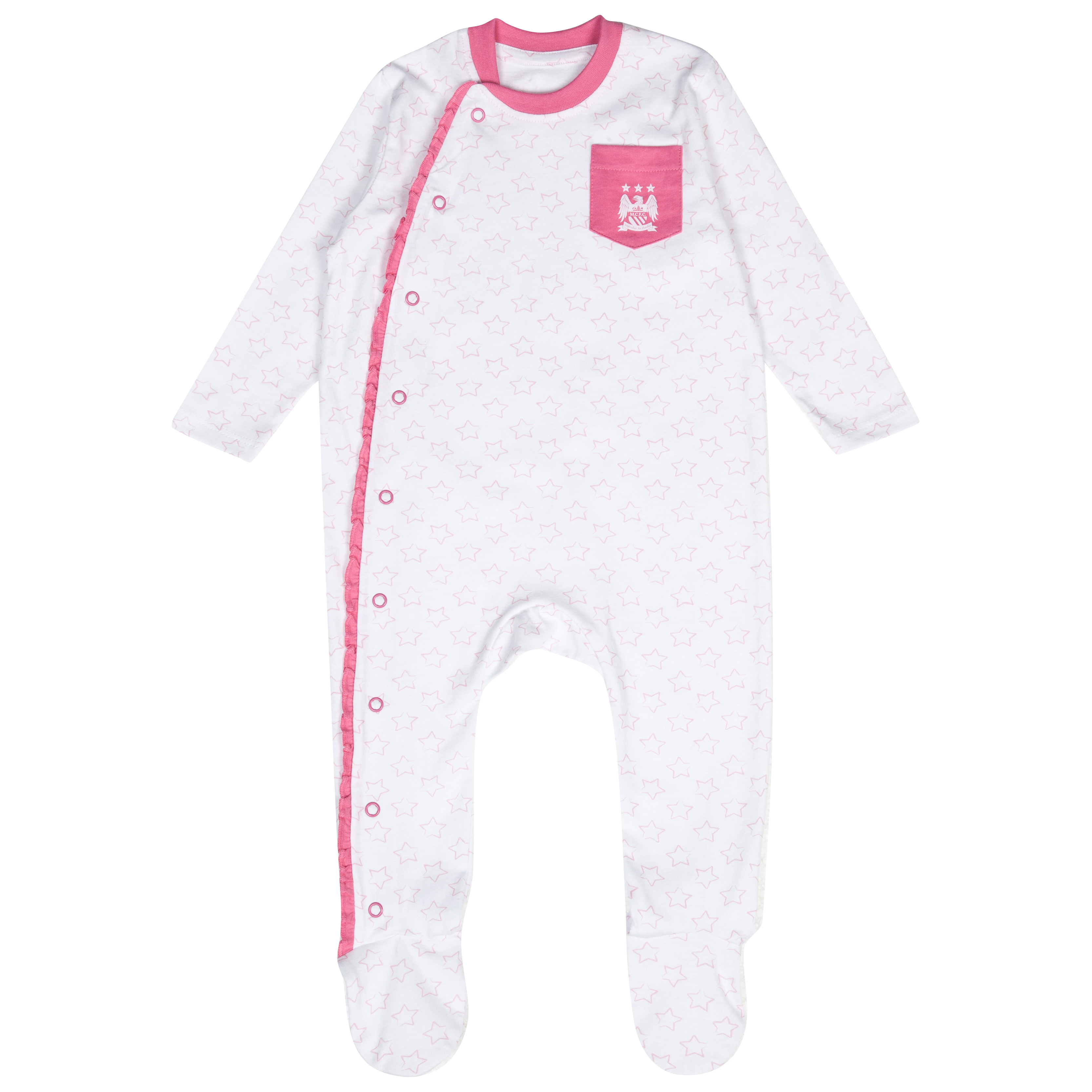 Manchester City Frill Sleepsuit - White/Pink - Baby
