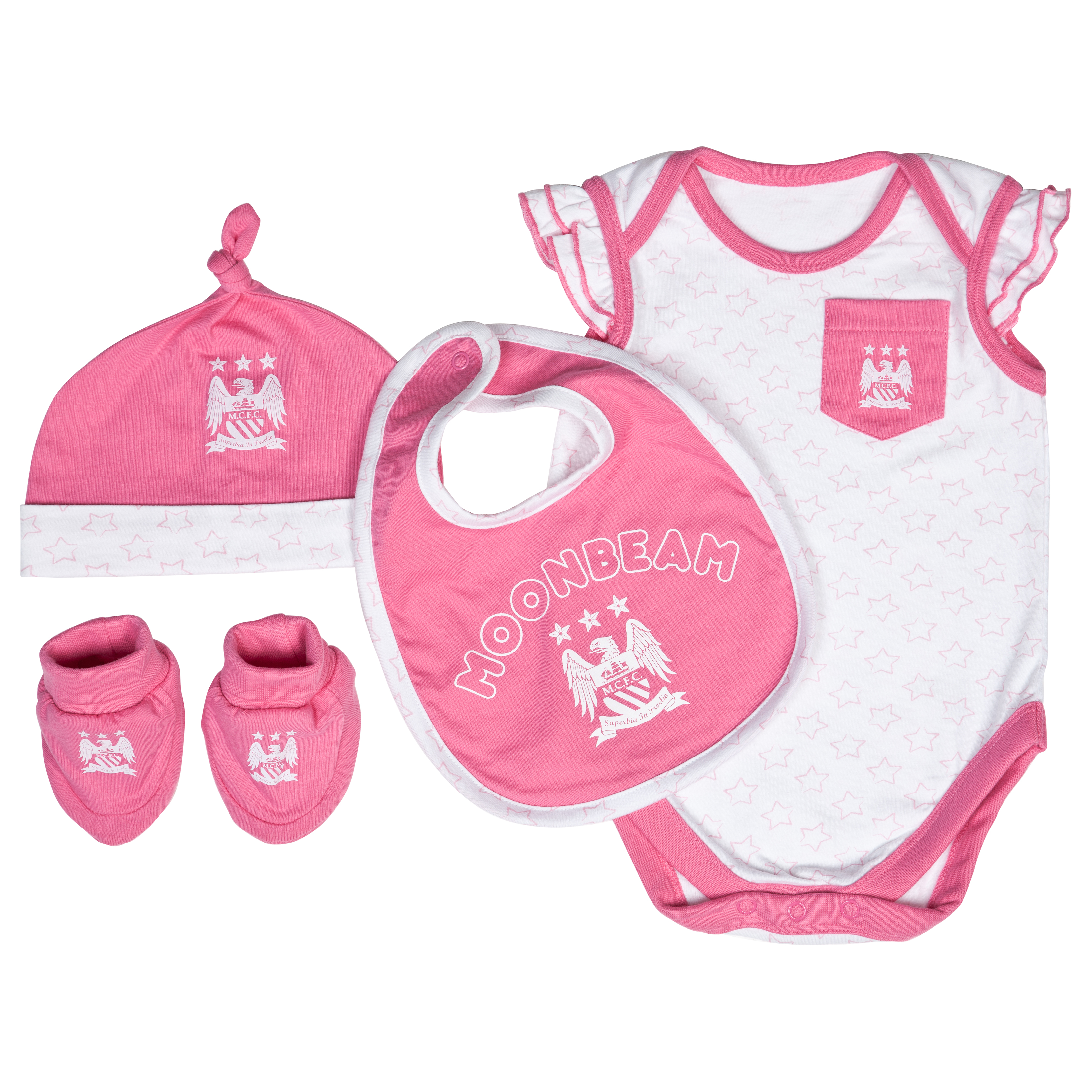 Manchester City Stars Gift Set - White/Pink - Baby