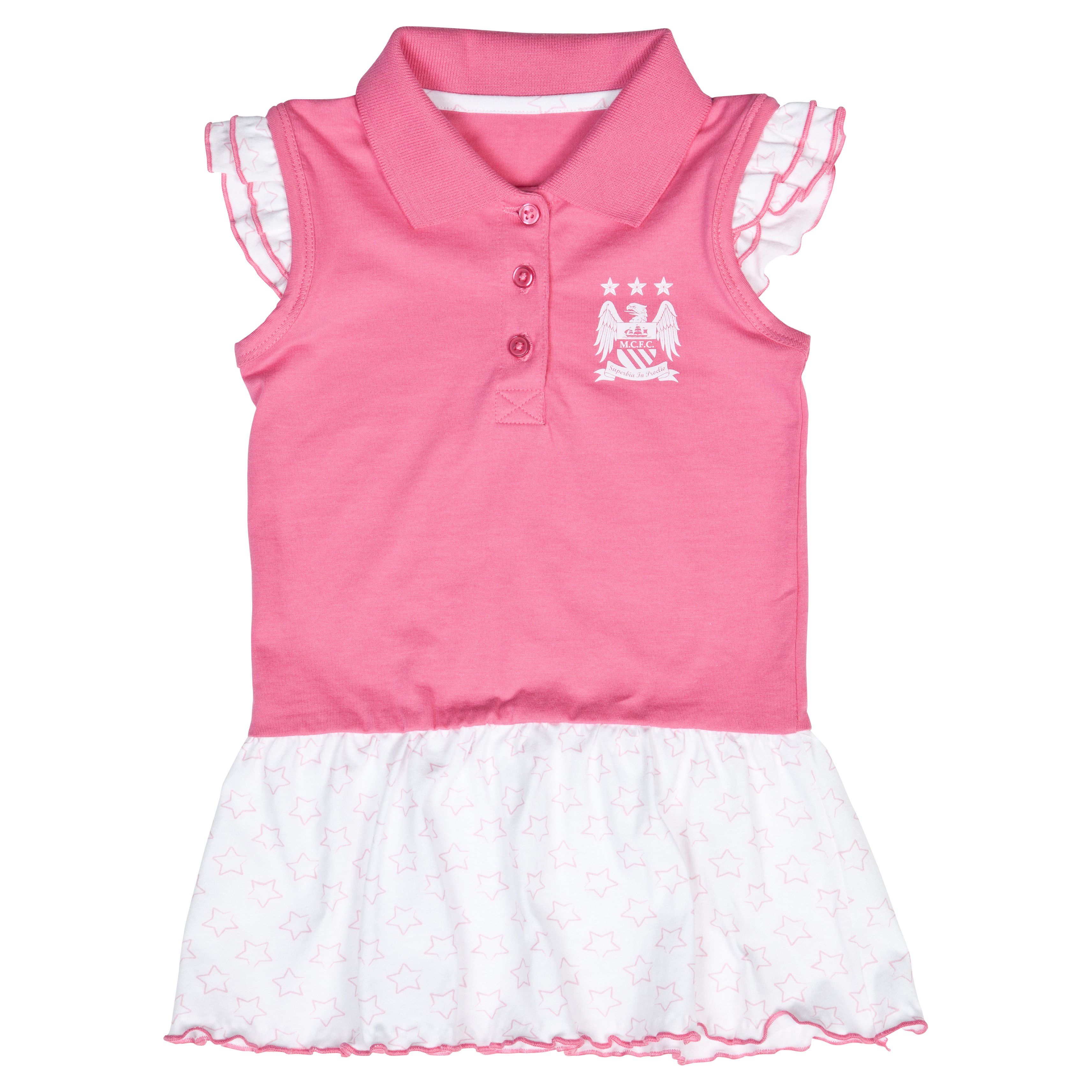Manchester City Stars Tennis Dress - Pink/White - Baby