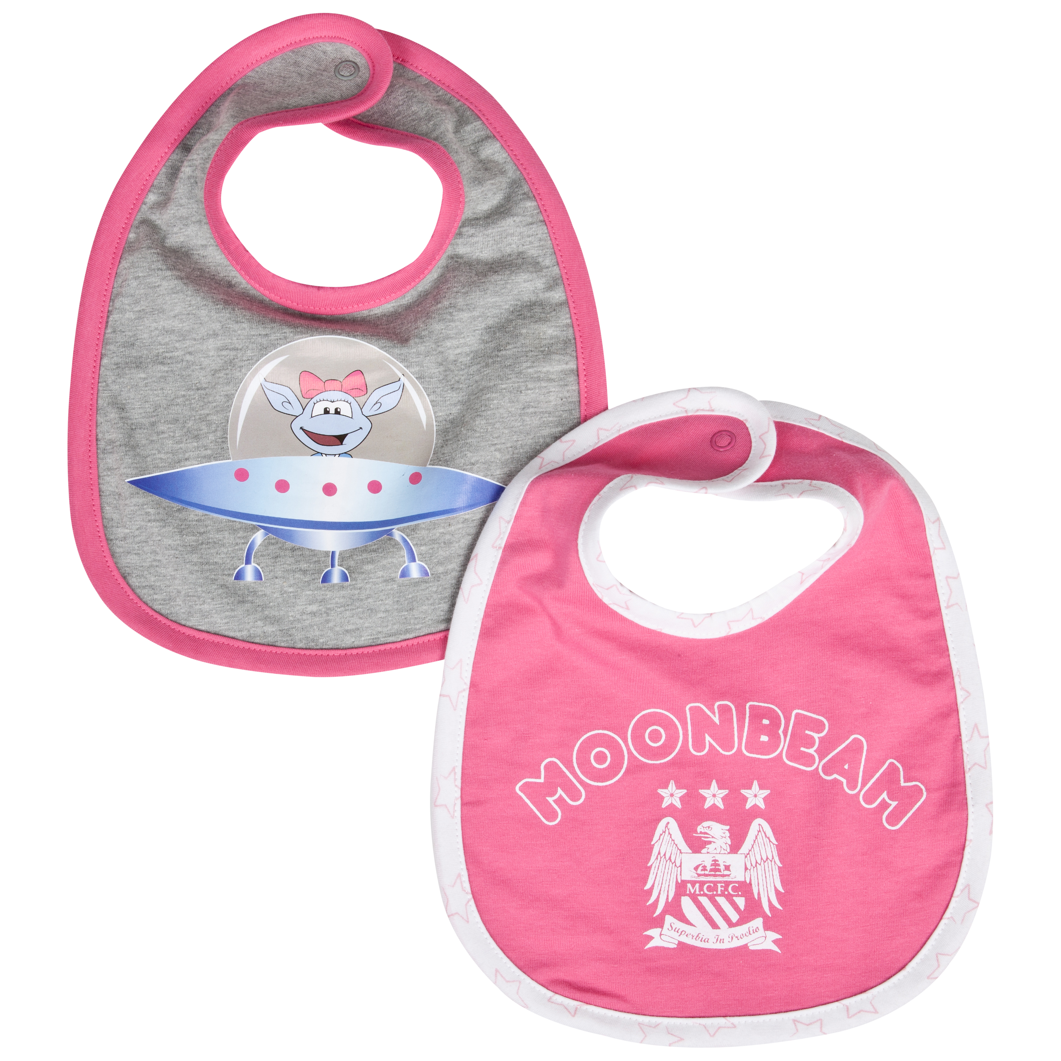 Manchester City Moonbeam Pack of 2 Bibs - Grey/Pink - Baby