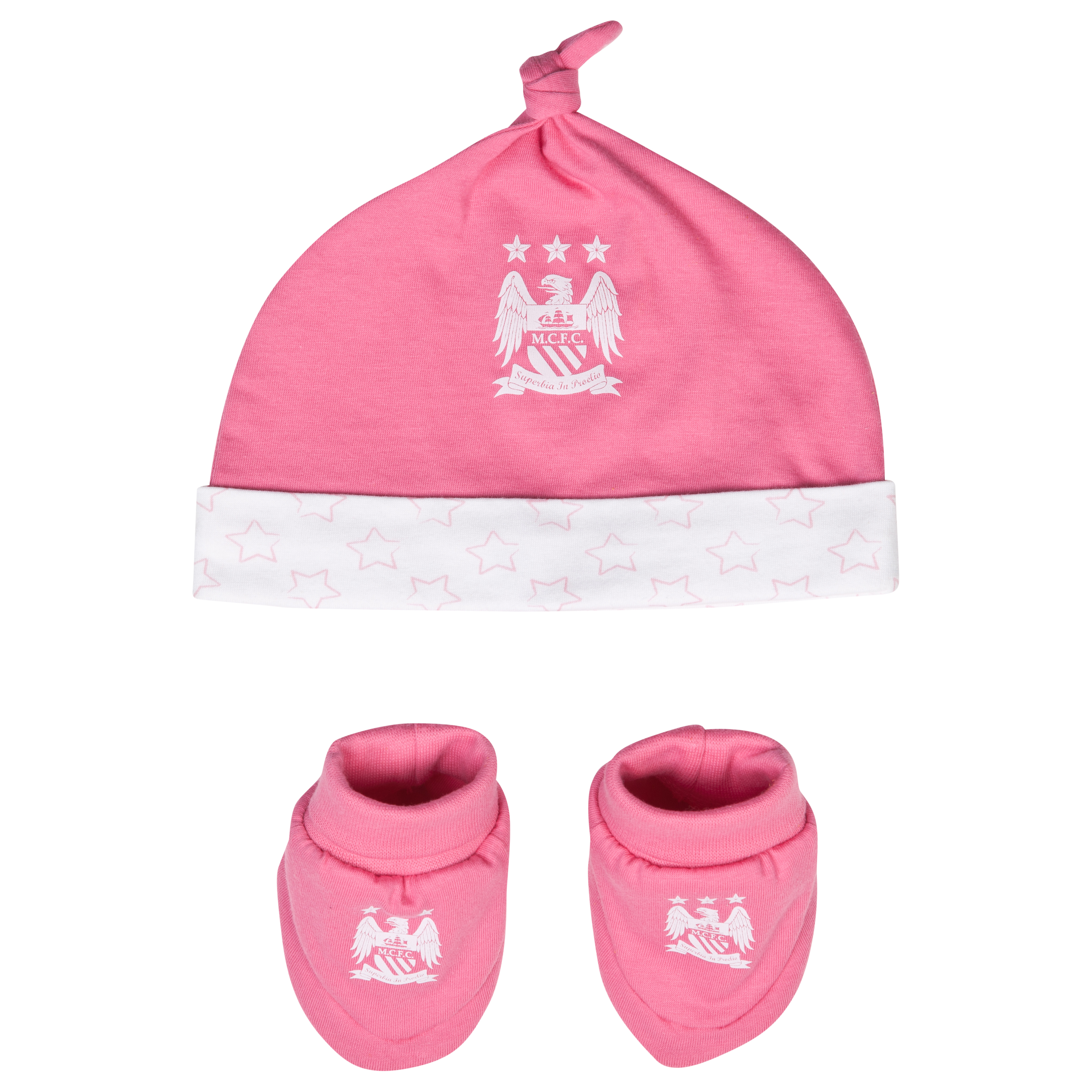 Manchester City Stars Hat and Booties - Pink/White - Baby