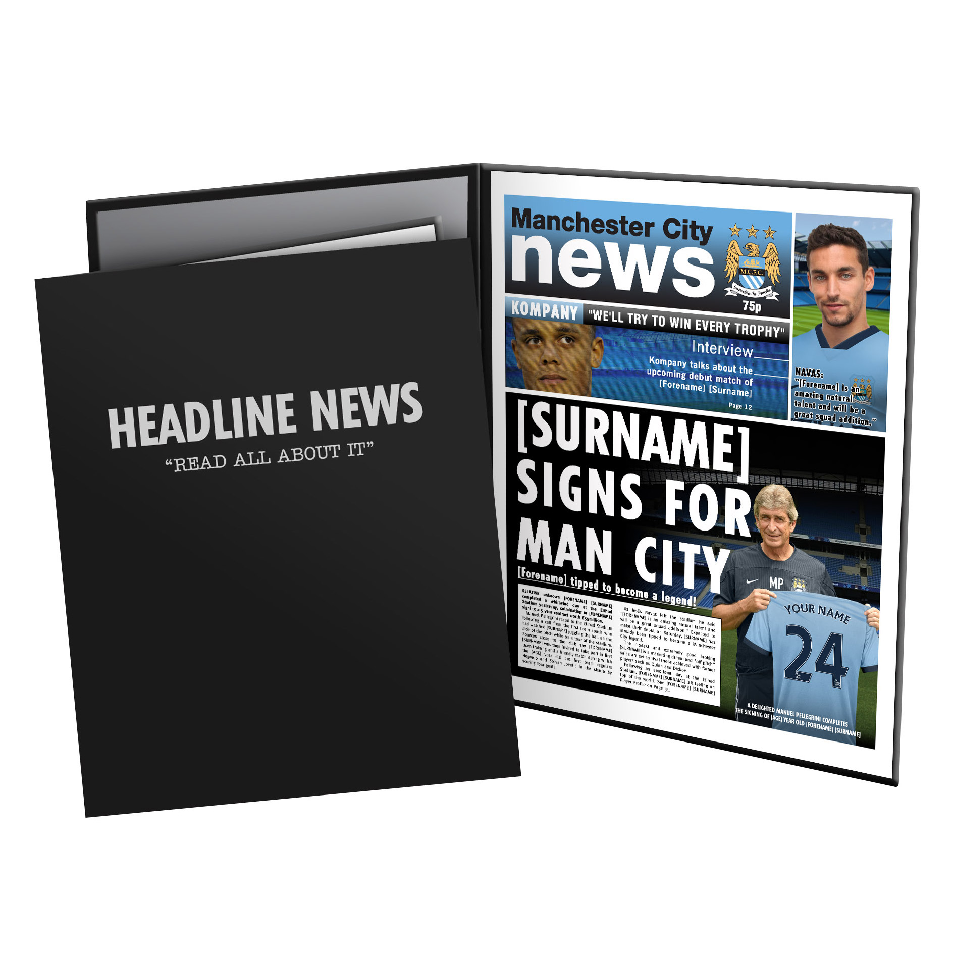 Manchester City Personalised Newspaper in Presentation Folder