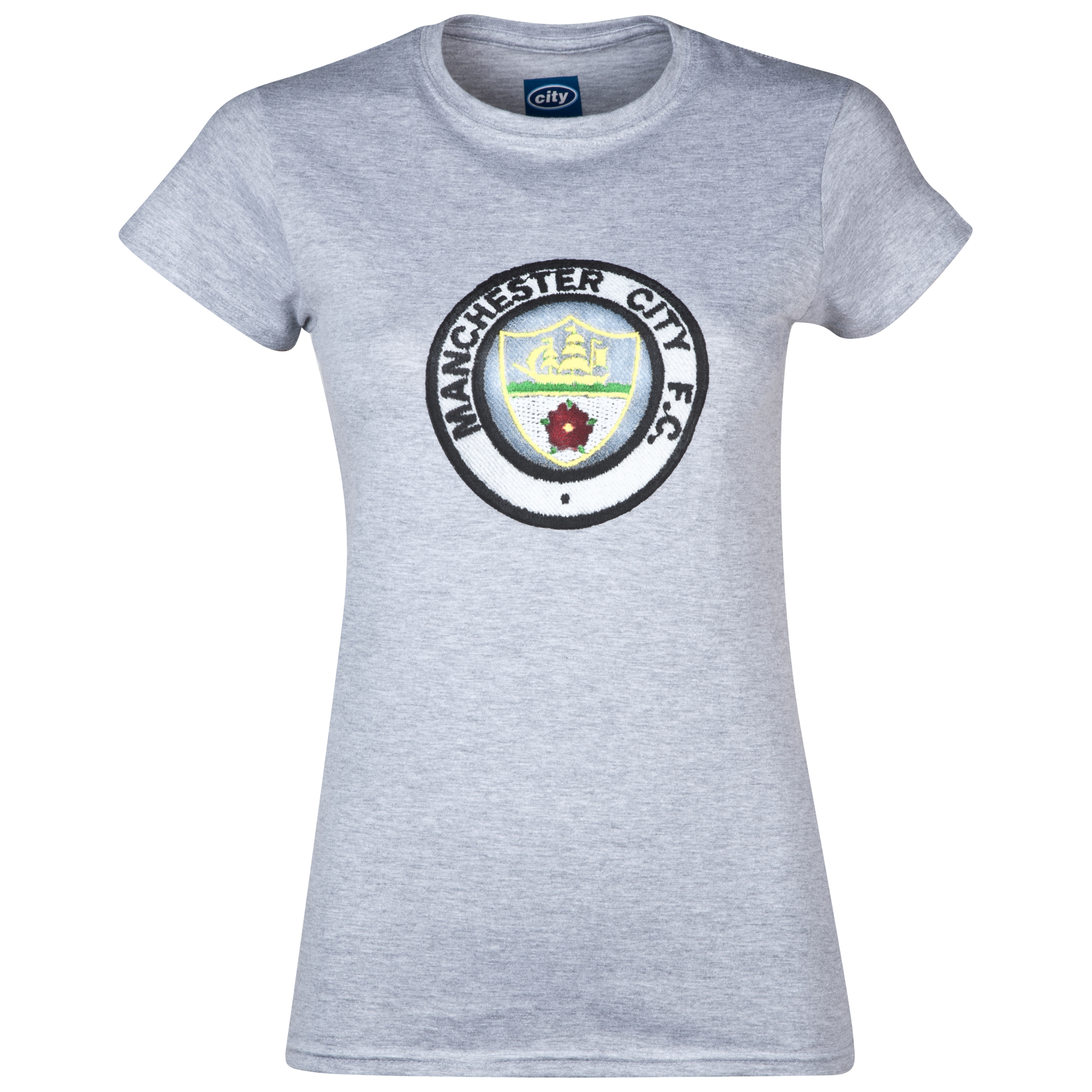 Manchester City 2for£20 Retro Crest T-Shirt - Sports Grey - Womens
