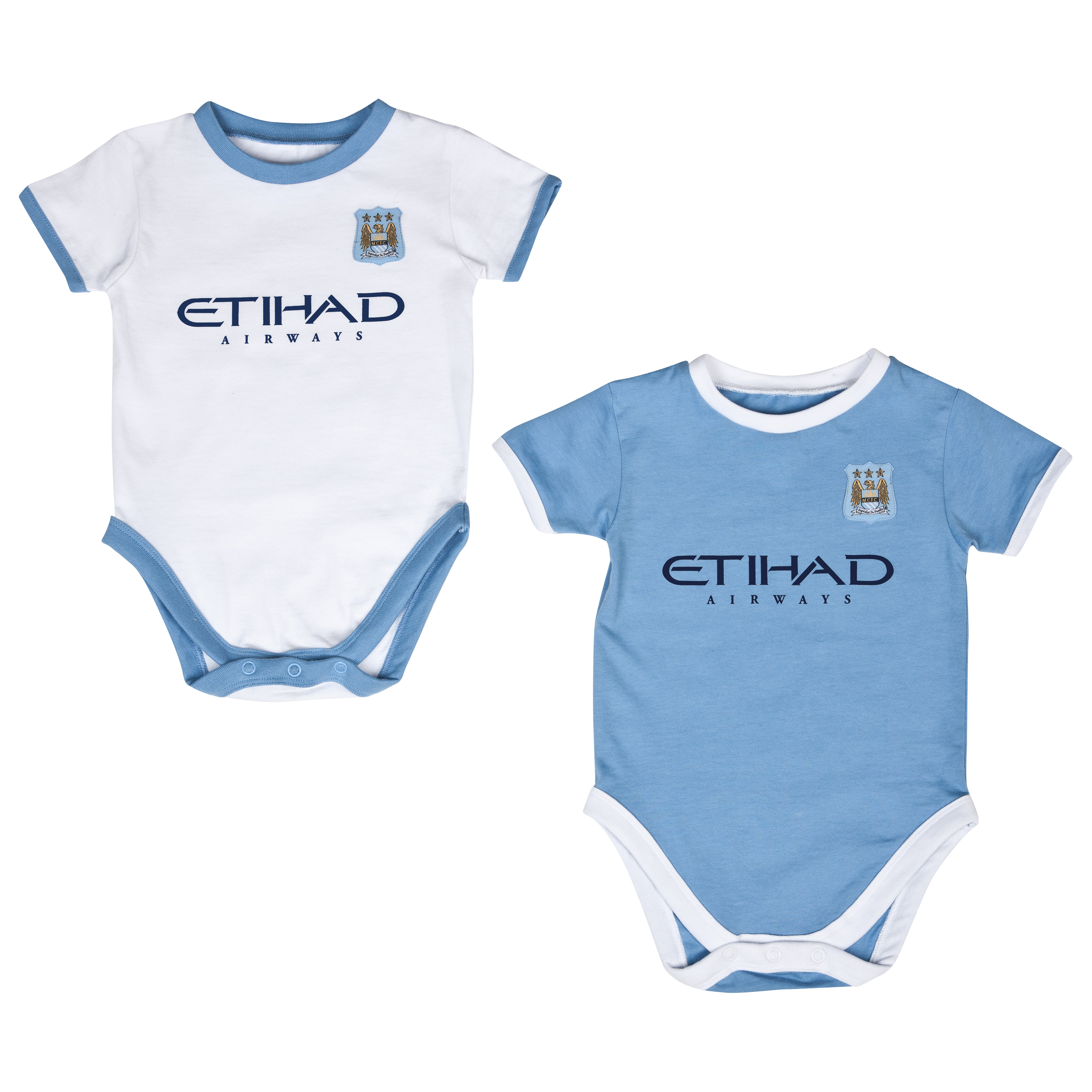 Manchester City 13/14 Kit Pack of 2 Bodysuits Lt Blue