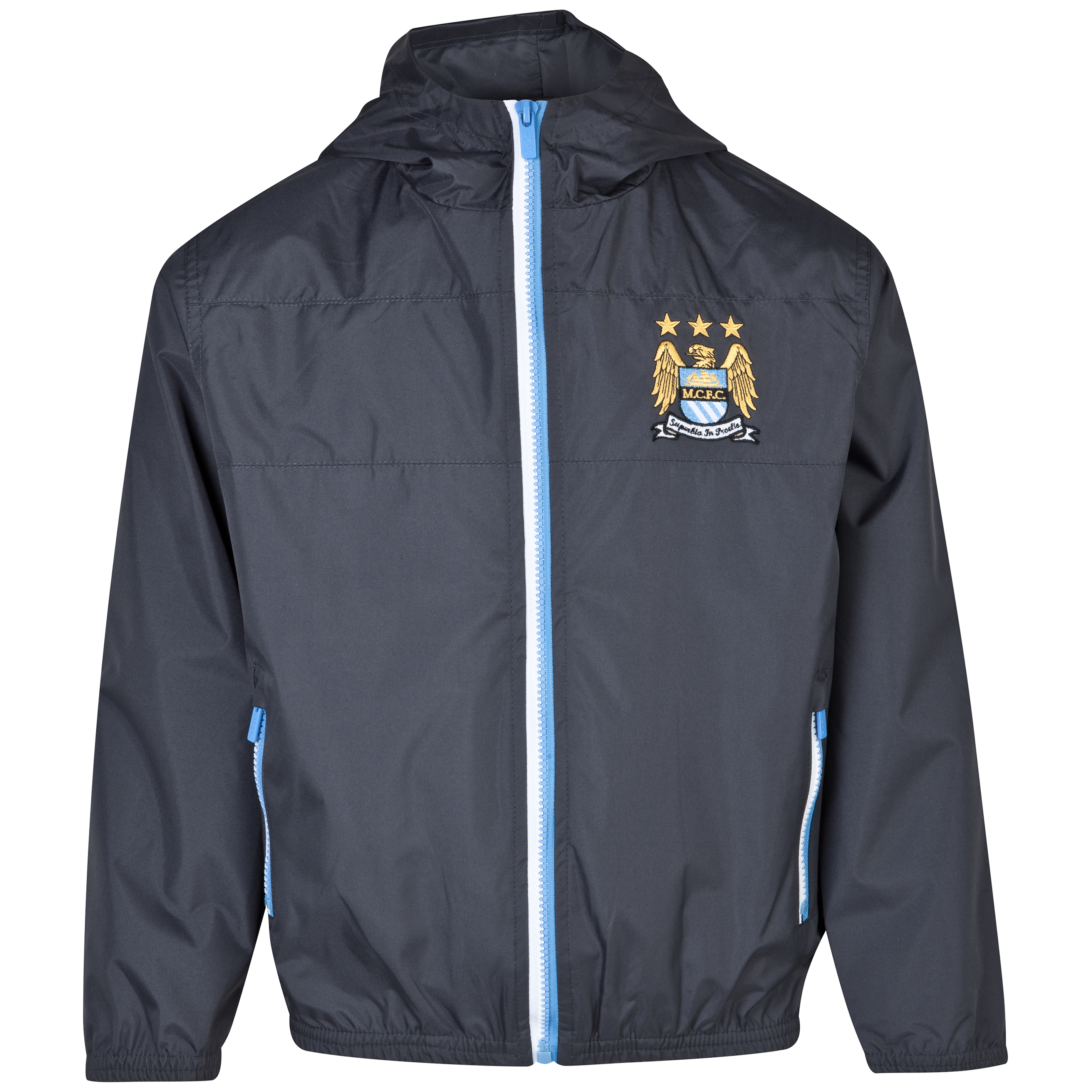 Manchester City Essentials Shower Jacket - Older Boys Dk Grey