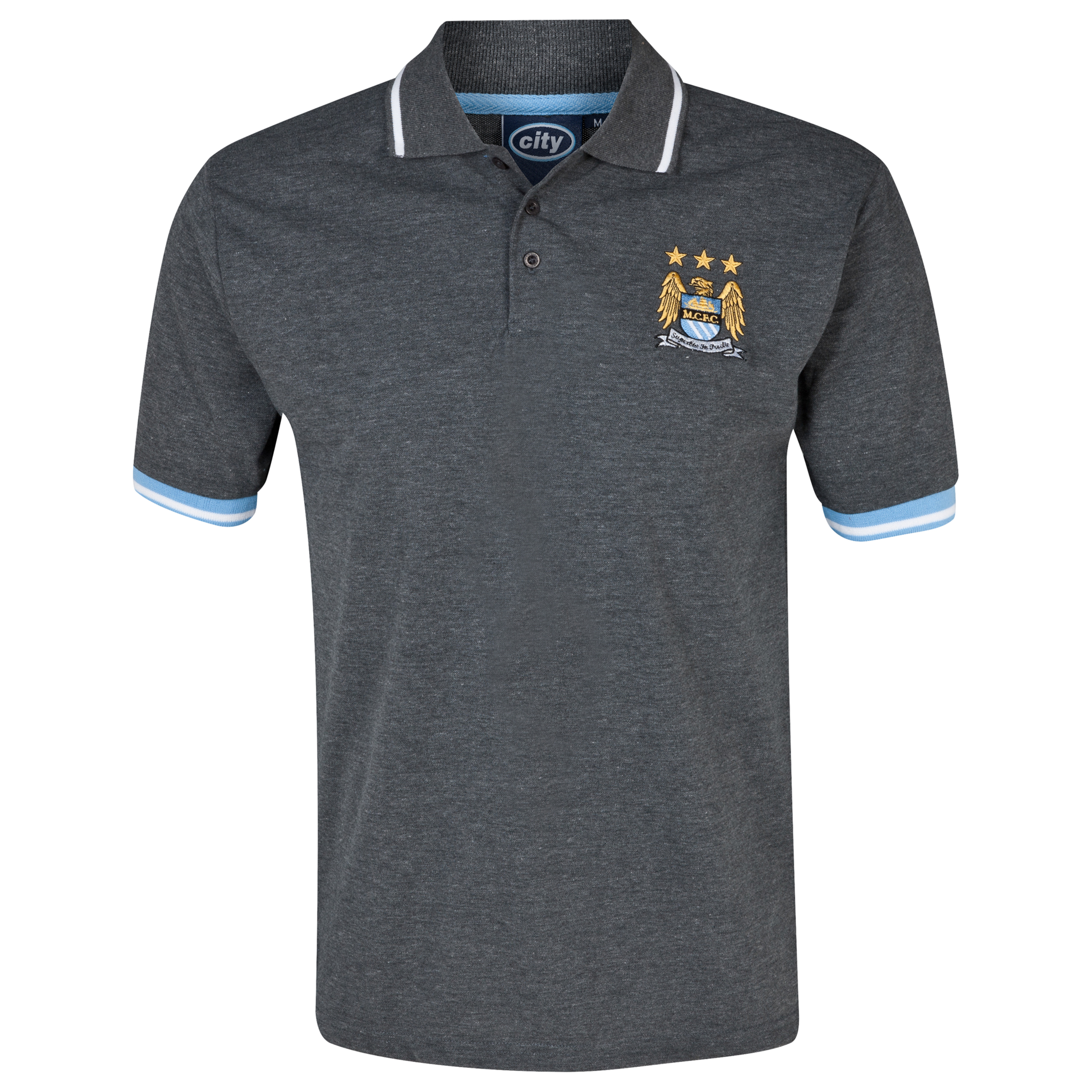 Manchester City Essentials Tour Polo Shirt - Mens Charcoal