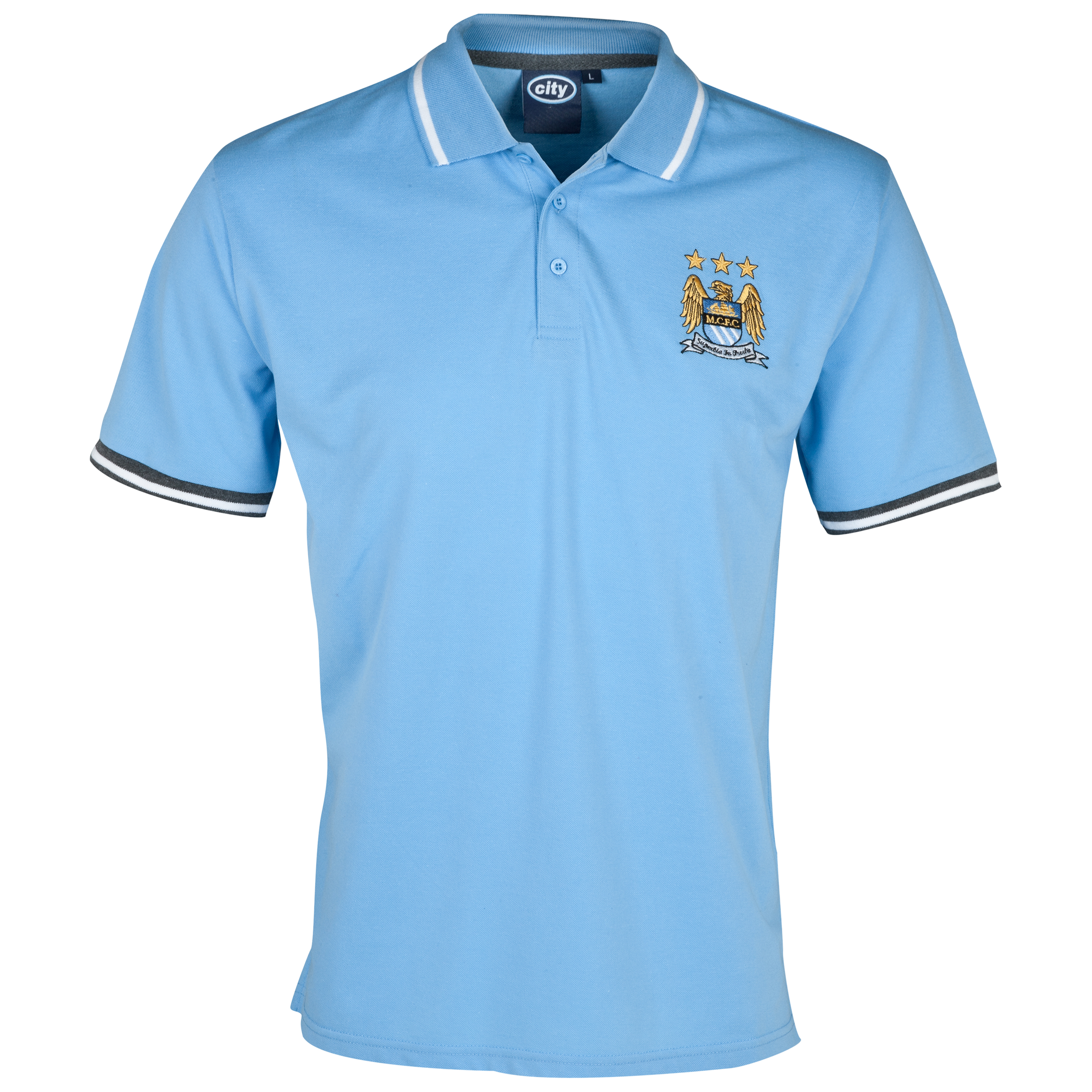 Manchester City Essentials Tour Polo Shirt - Mens Lt Blue