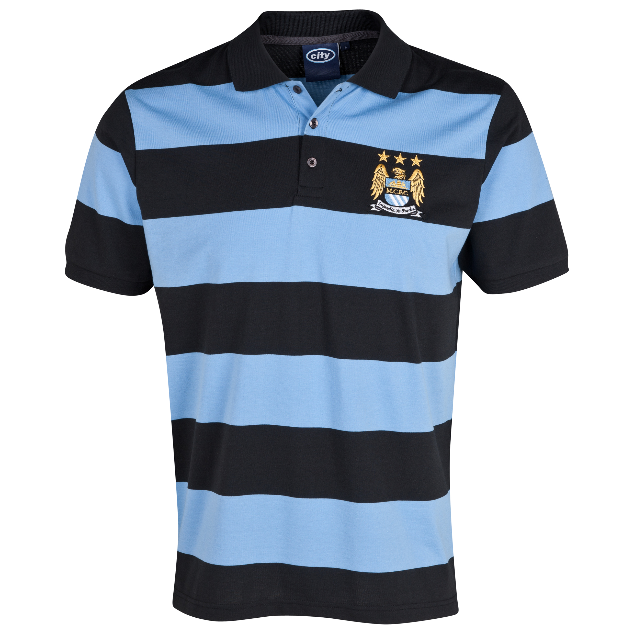 Manchester City Essentials Hooped Polo Shirt - Older Boys Lt Blue