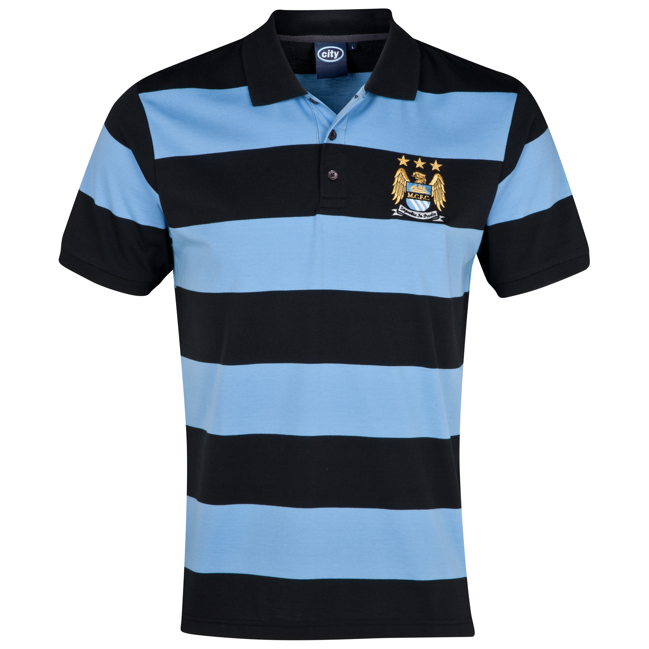 Manchester City Essentials Hooped Polo Shirt - Mens Lt Blue
