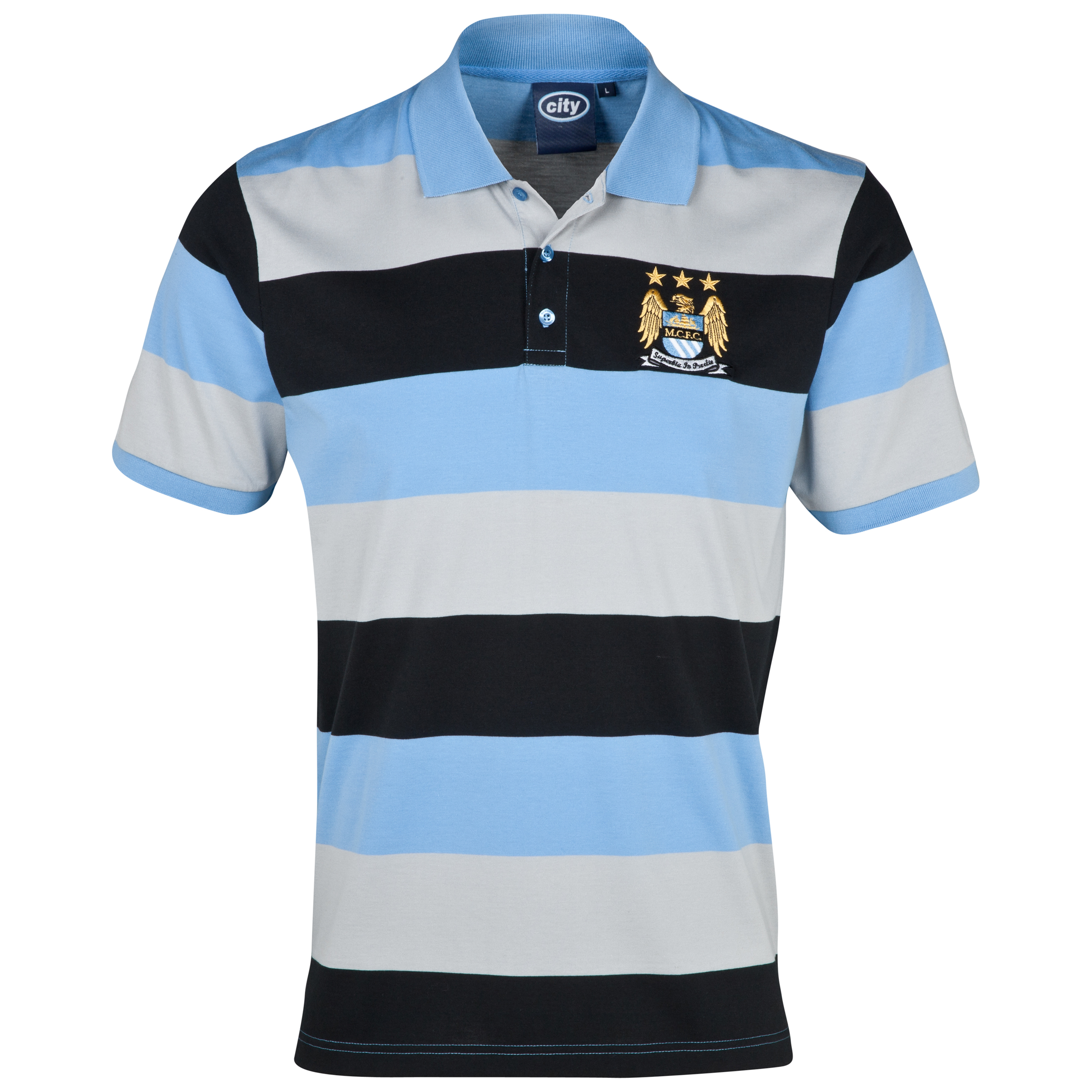 Manchester City Essentials Hooped Polo Shirt - Mens Grey