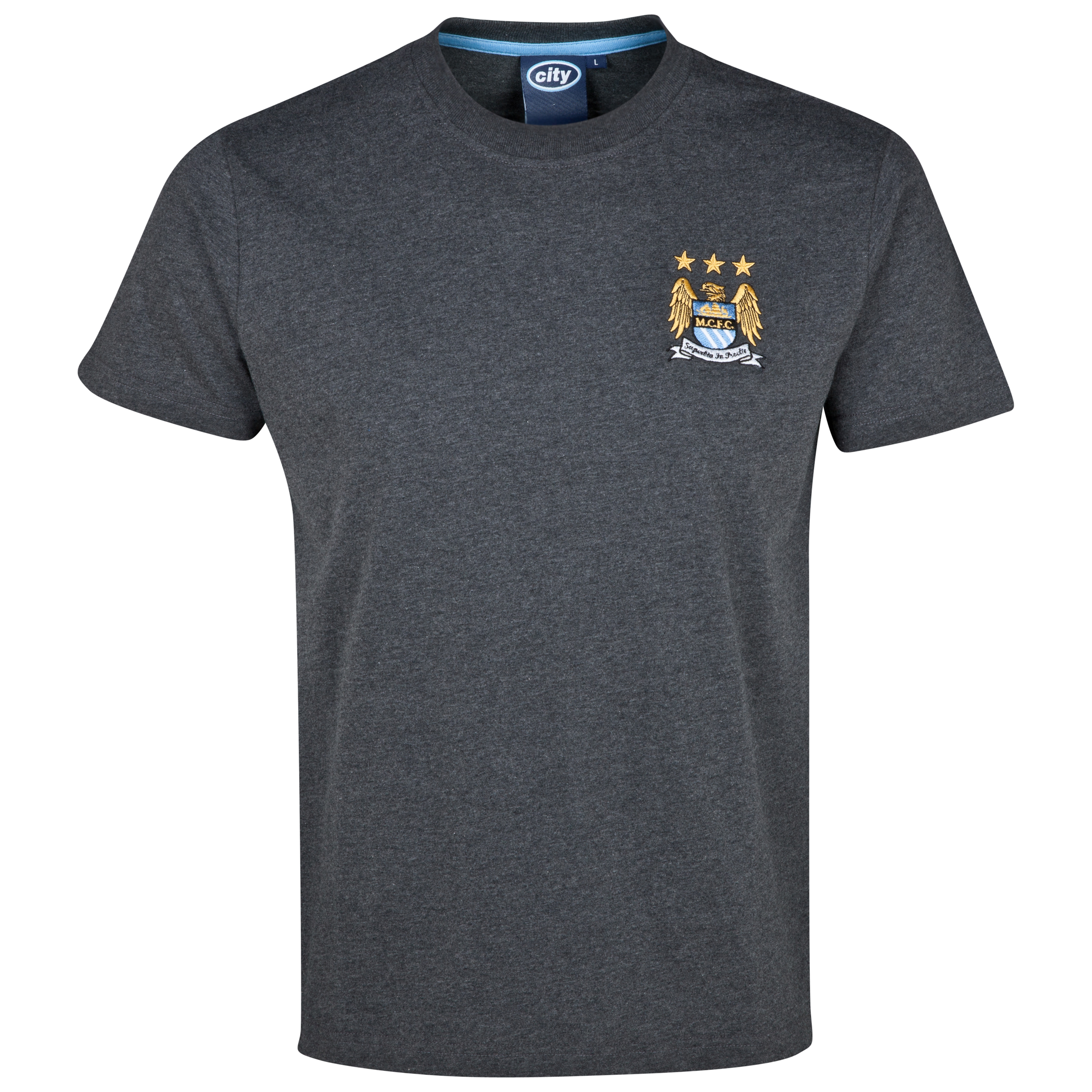 Manchester City Essentials Stitch T-Shirt - Older Boys Charcoal