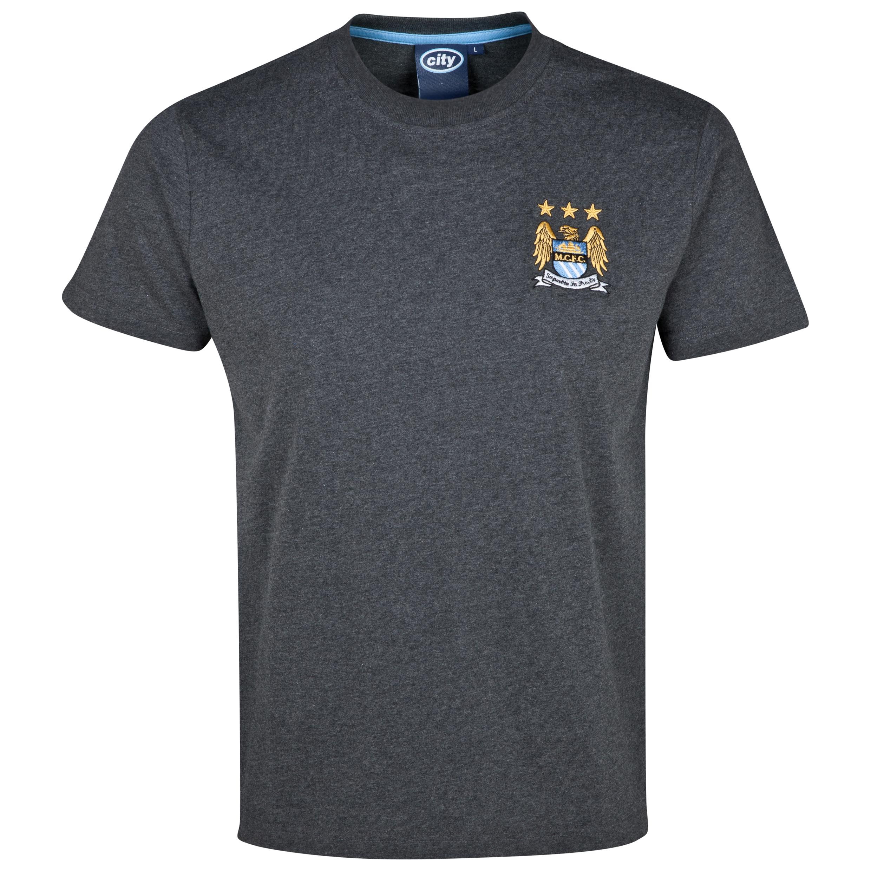 Manchester City Essentials Stitch T-Shirt - Older Boys Charcoal