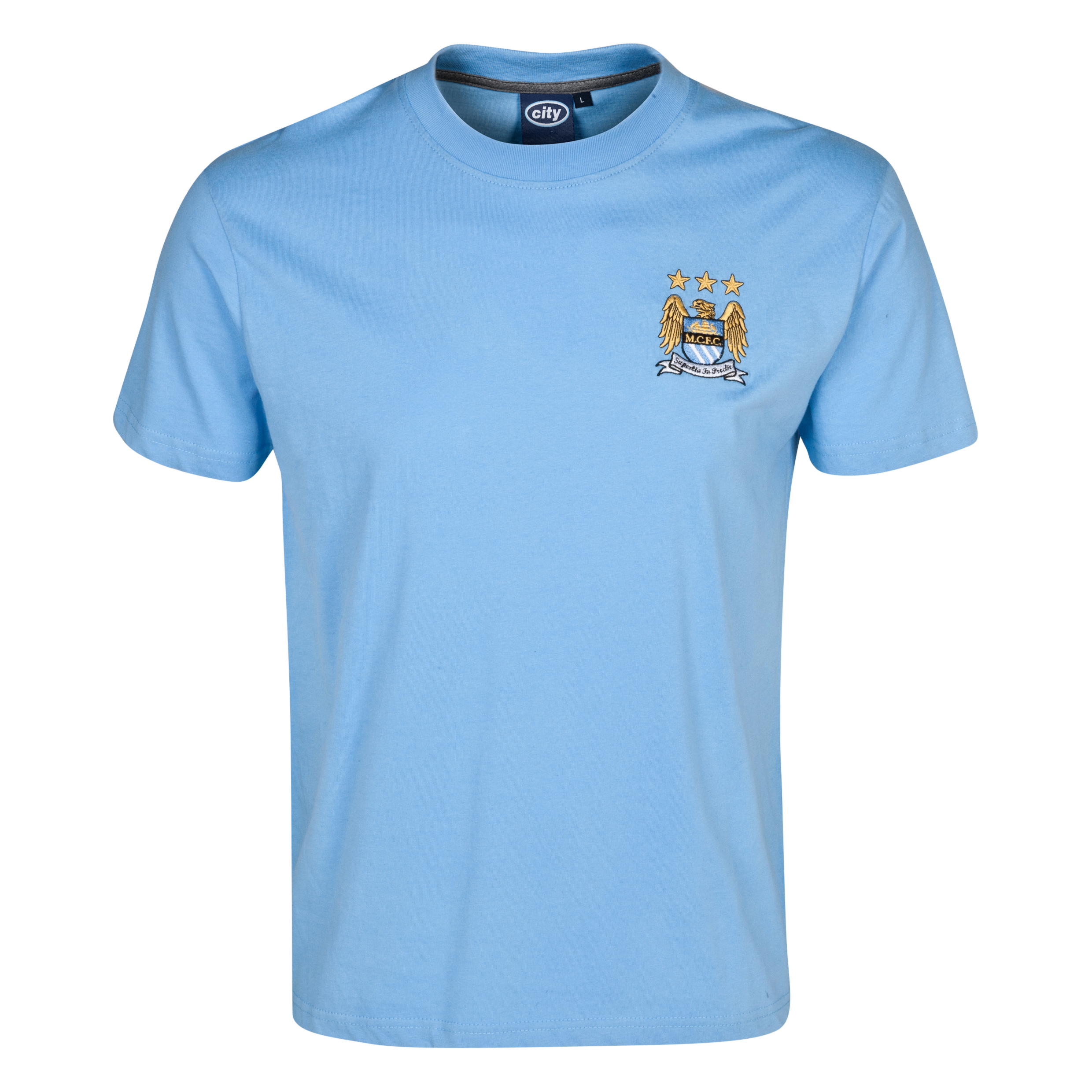 Manchester City Essentials Stitch T-Shirt - Mens Lt Blue