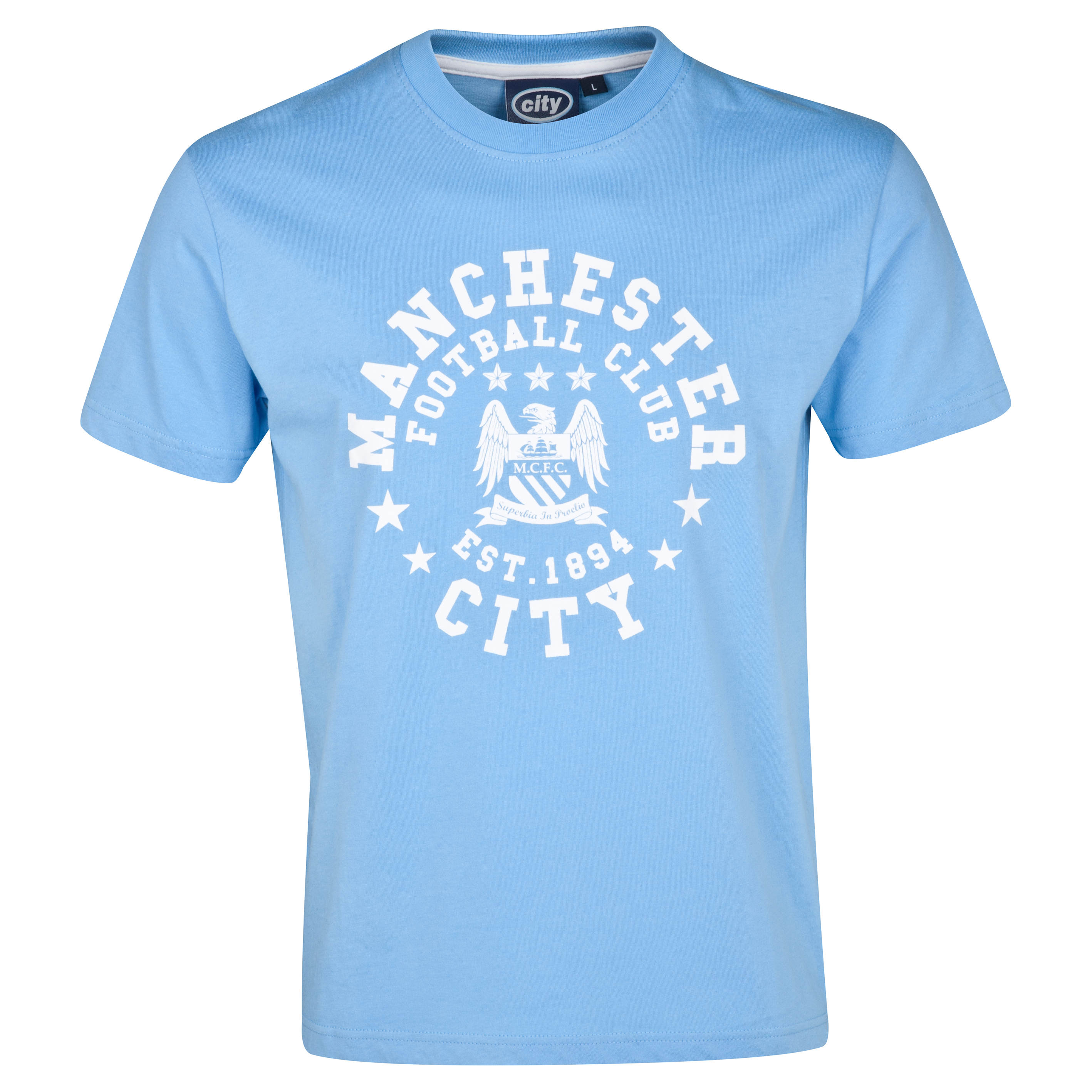 Manchester City Essentials Motif T-Shirt - Older Boys Lt Blue